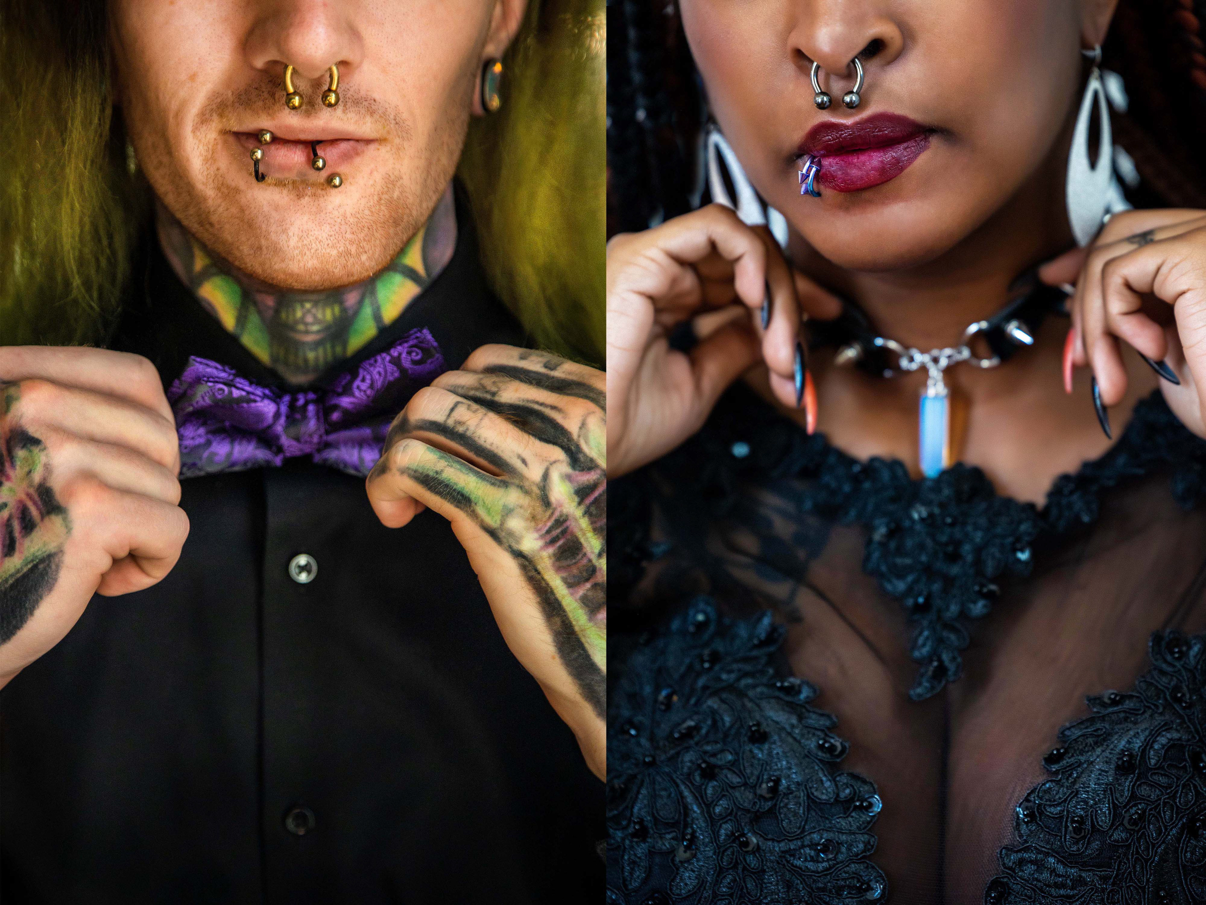 Side by side portrait of bride and groom with pierced faces - photo by Amber Henry Photography