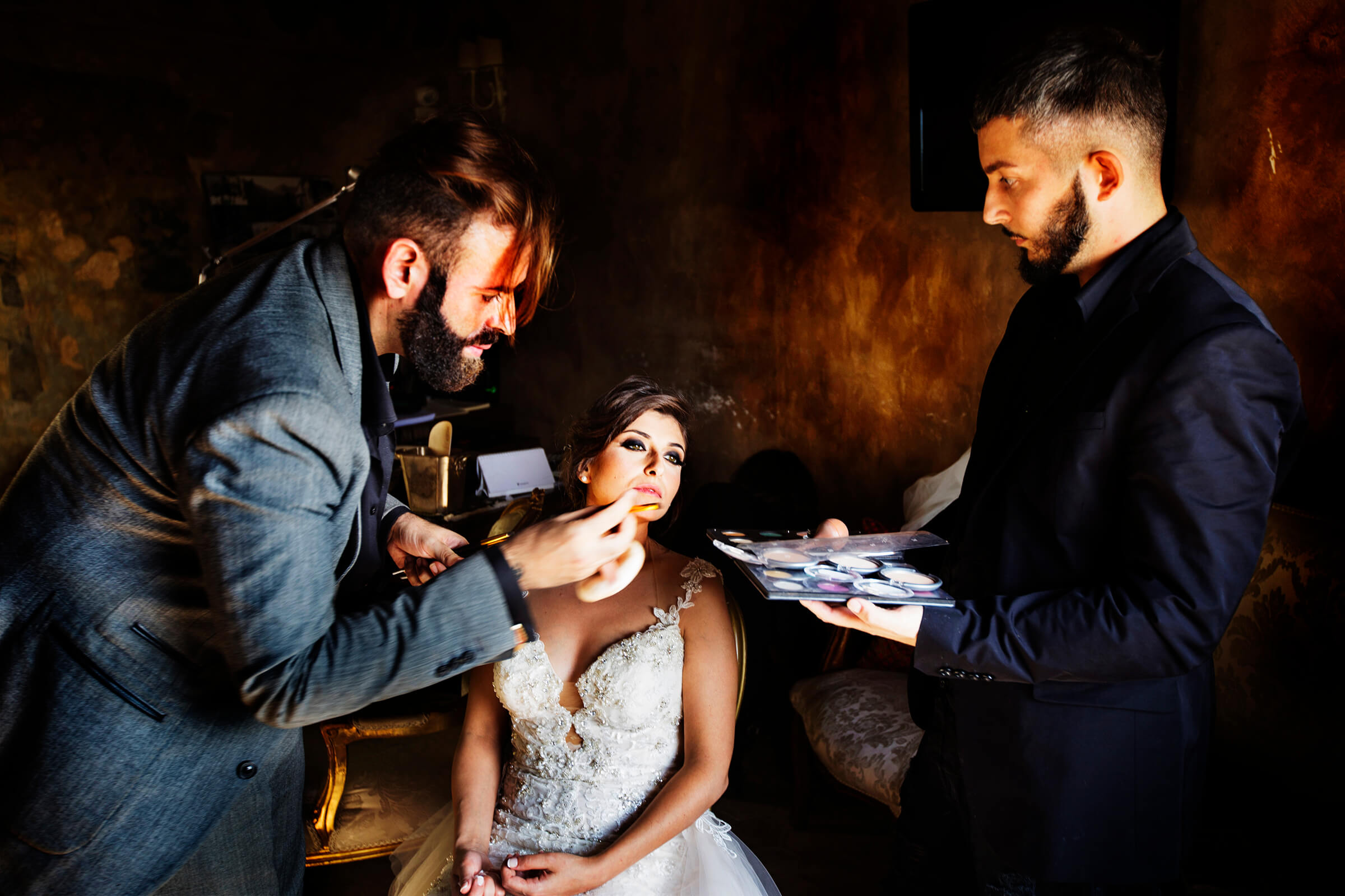 Bride with two makeup artists - photo by Nino Lombardo Photographer