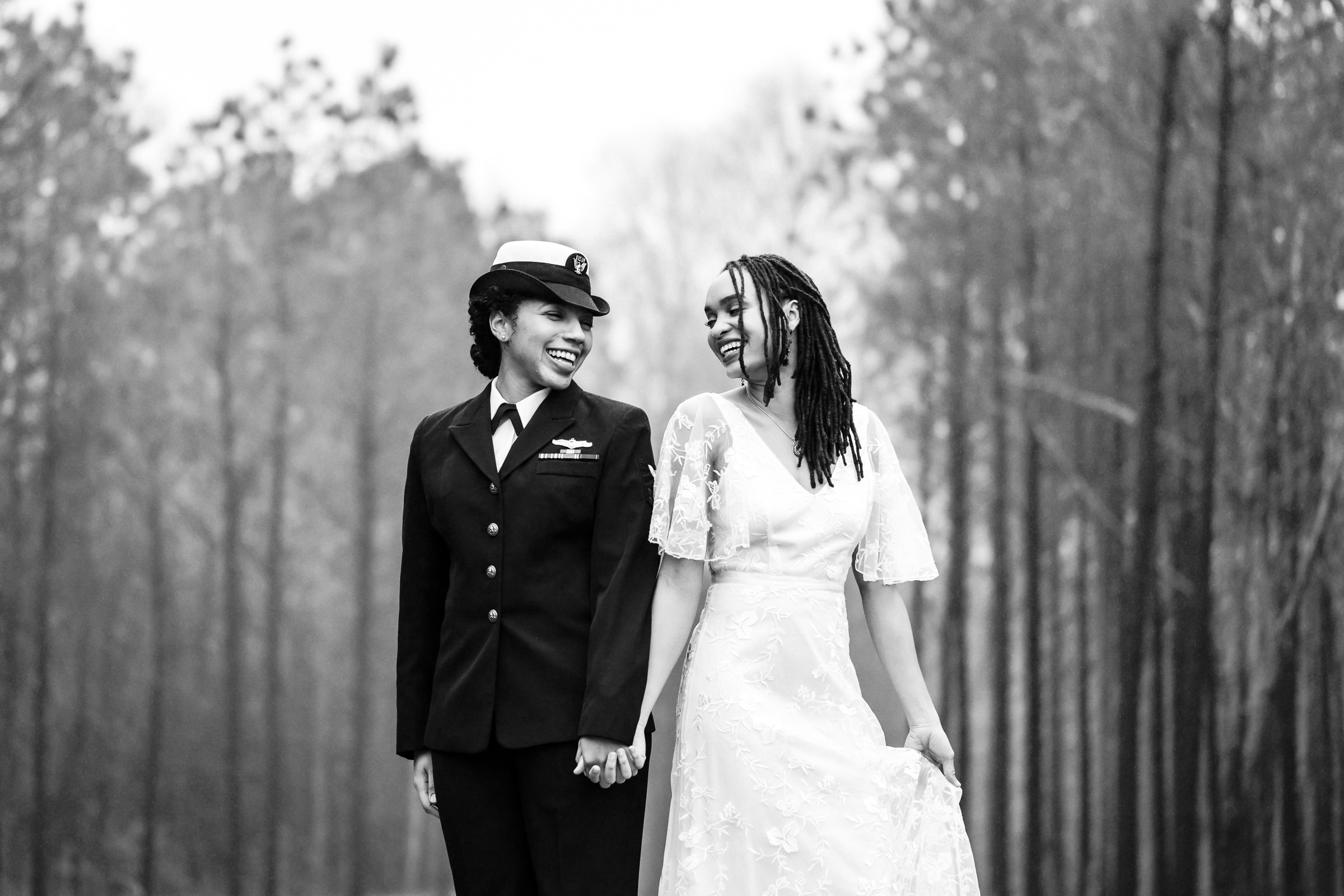 Uniformed military bride with her bride - photo by Xiaoqi Li Photography