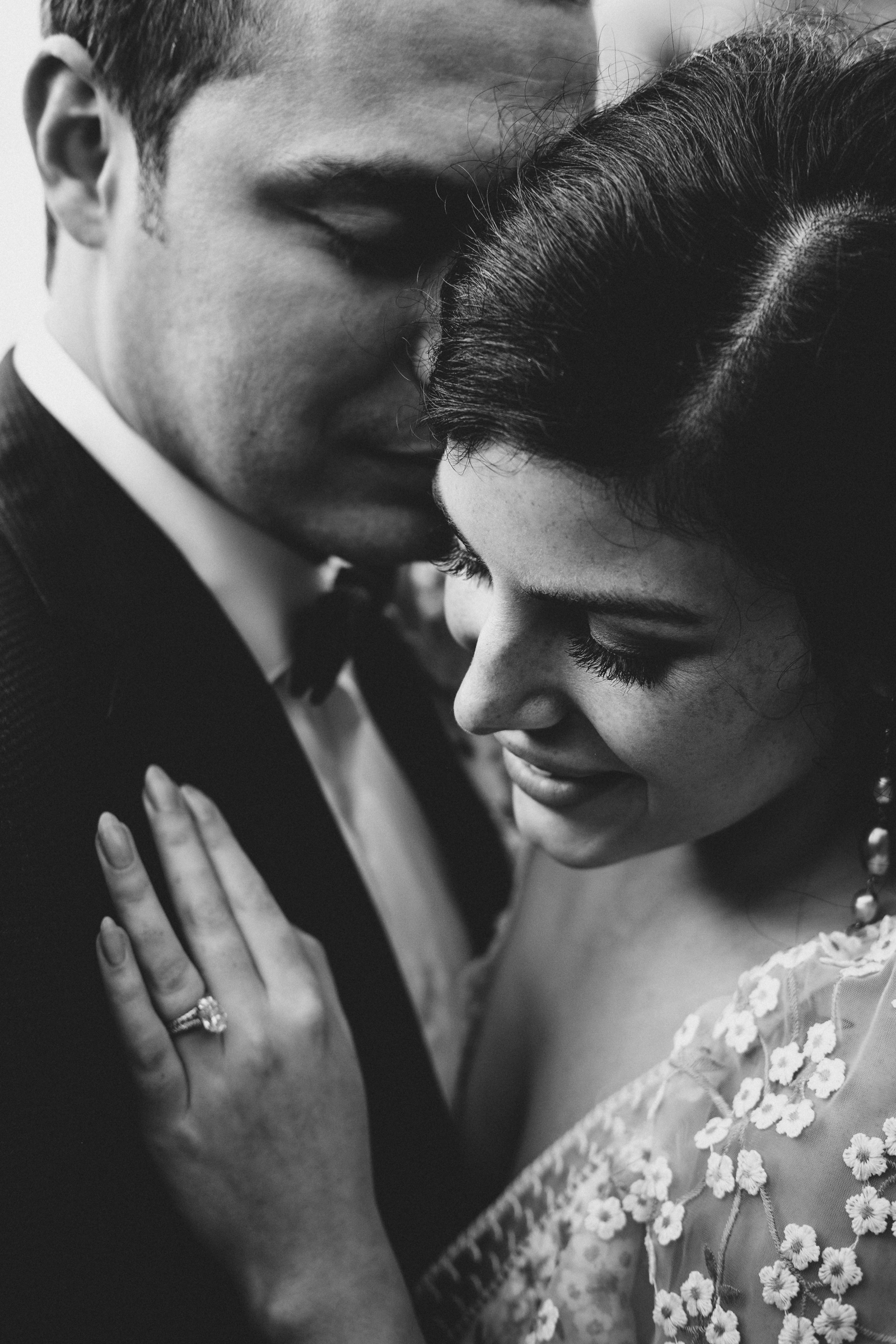 Cinematic black and white couple portrait - photo by Christin Eide Photography