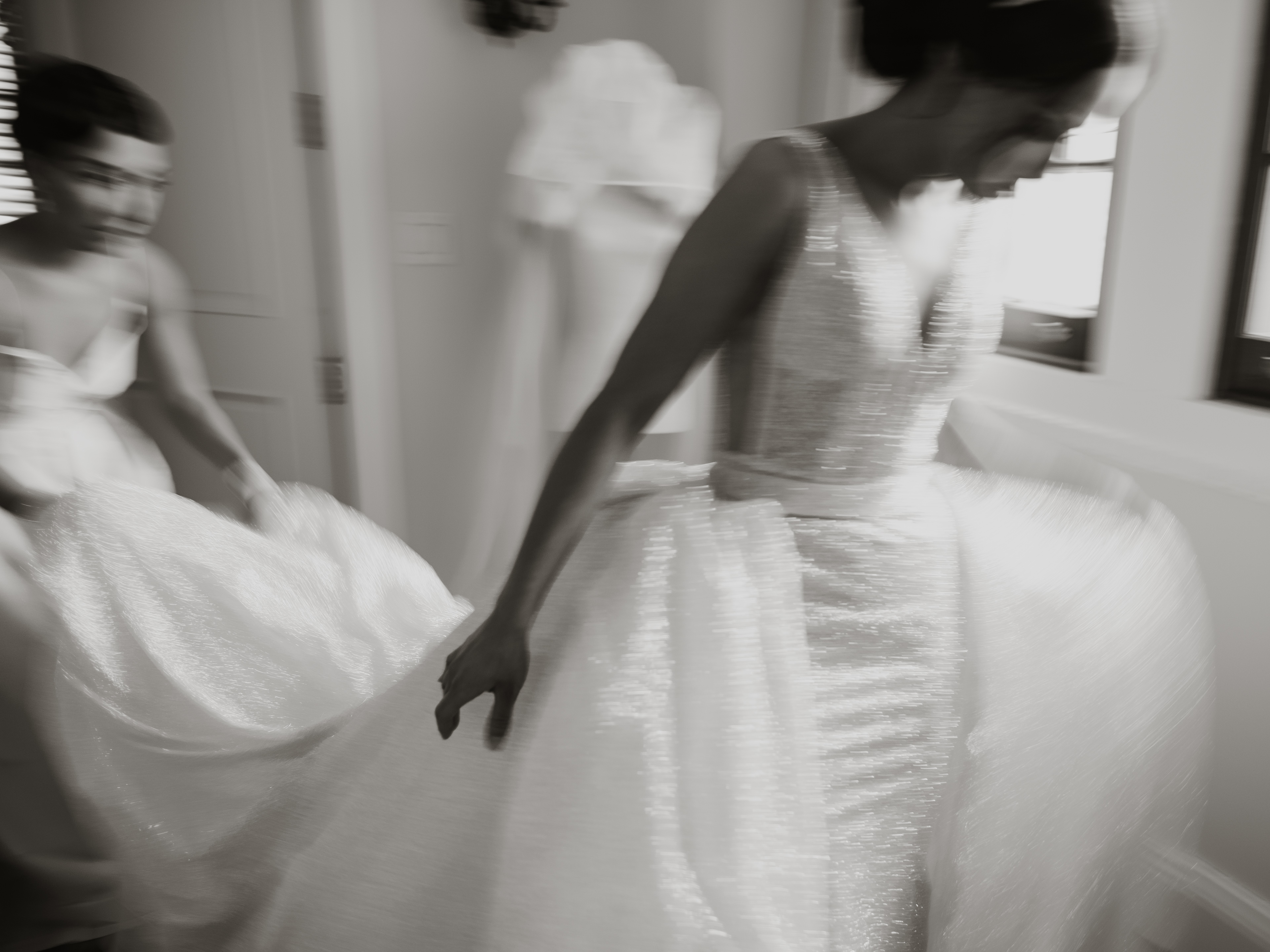Bride enters with train trailing - photo by Joel and Justyna