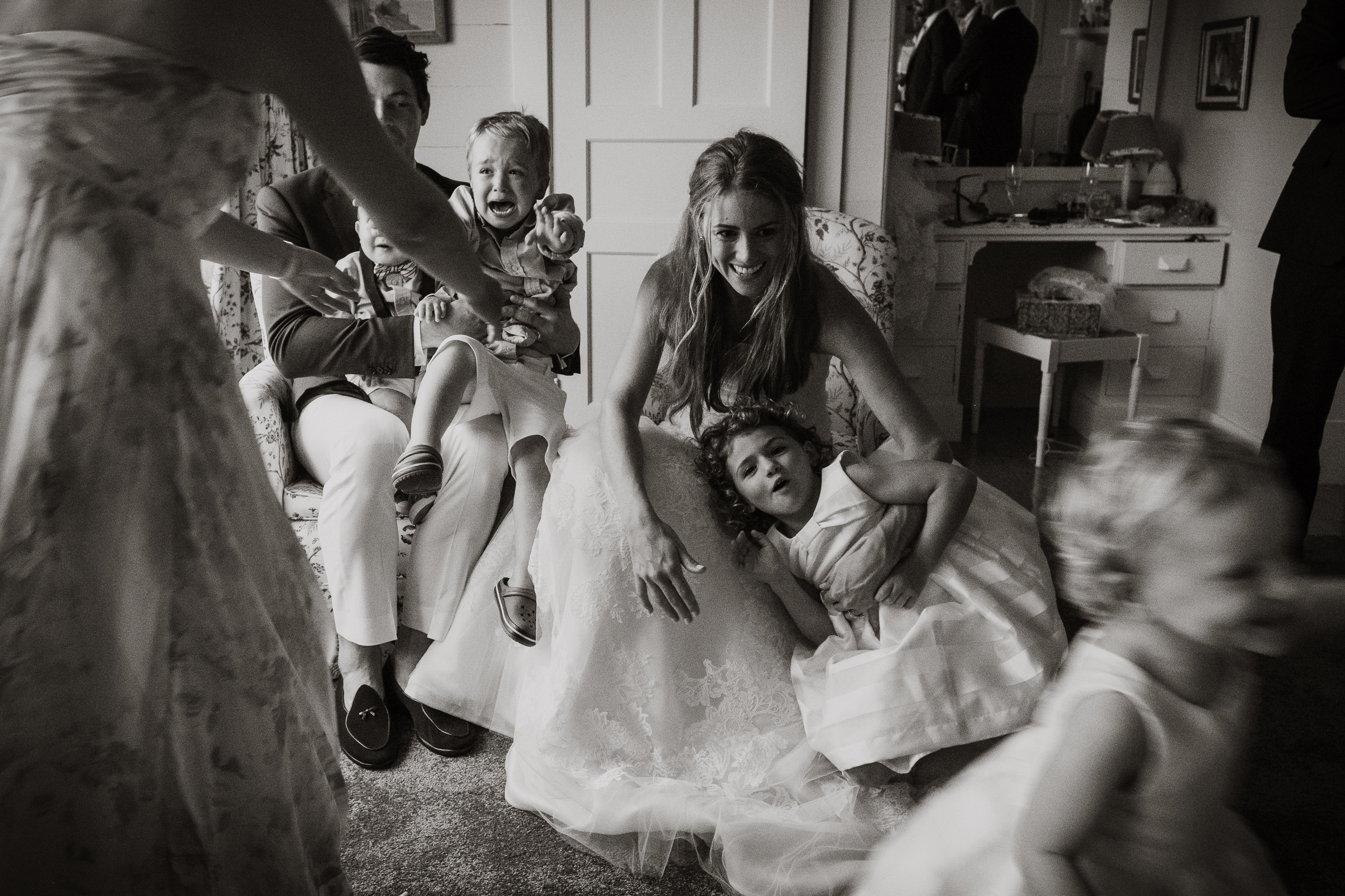 Children with bride and groom  - photo by Joel and Justyna