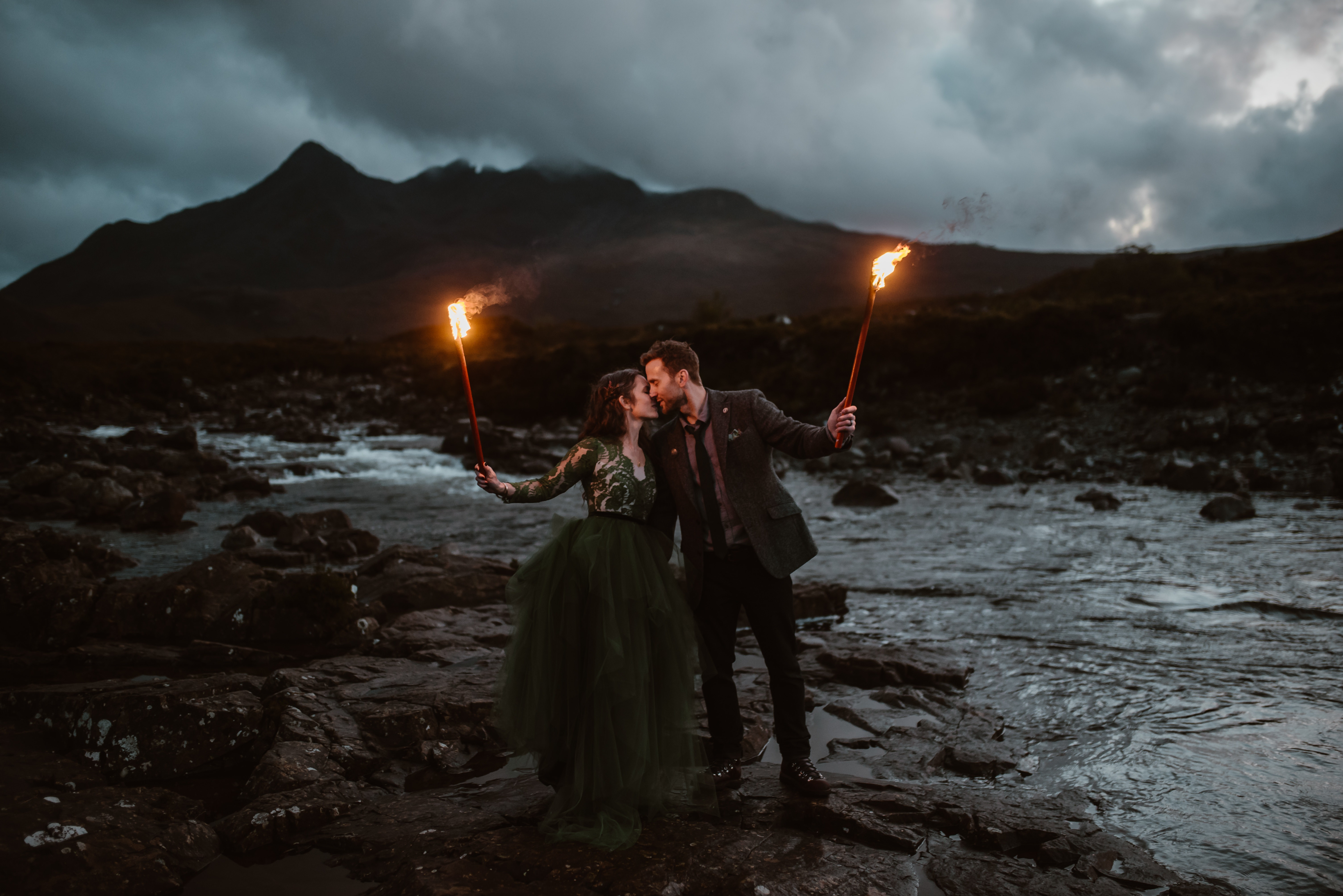 Couple with torches at river on stormy night photo by Virginia & Evan - Scotland