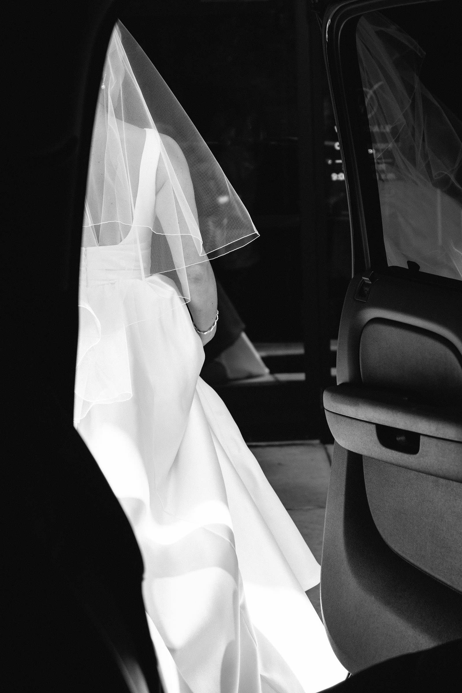 Bride in black and white contrast - photo by Bradley Hanson Photography