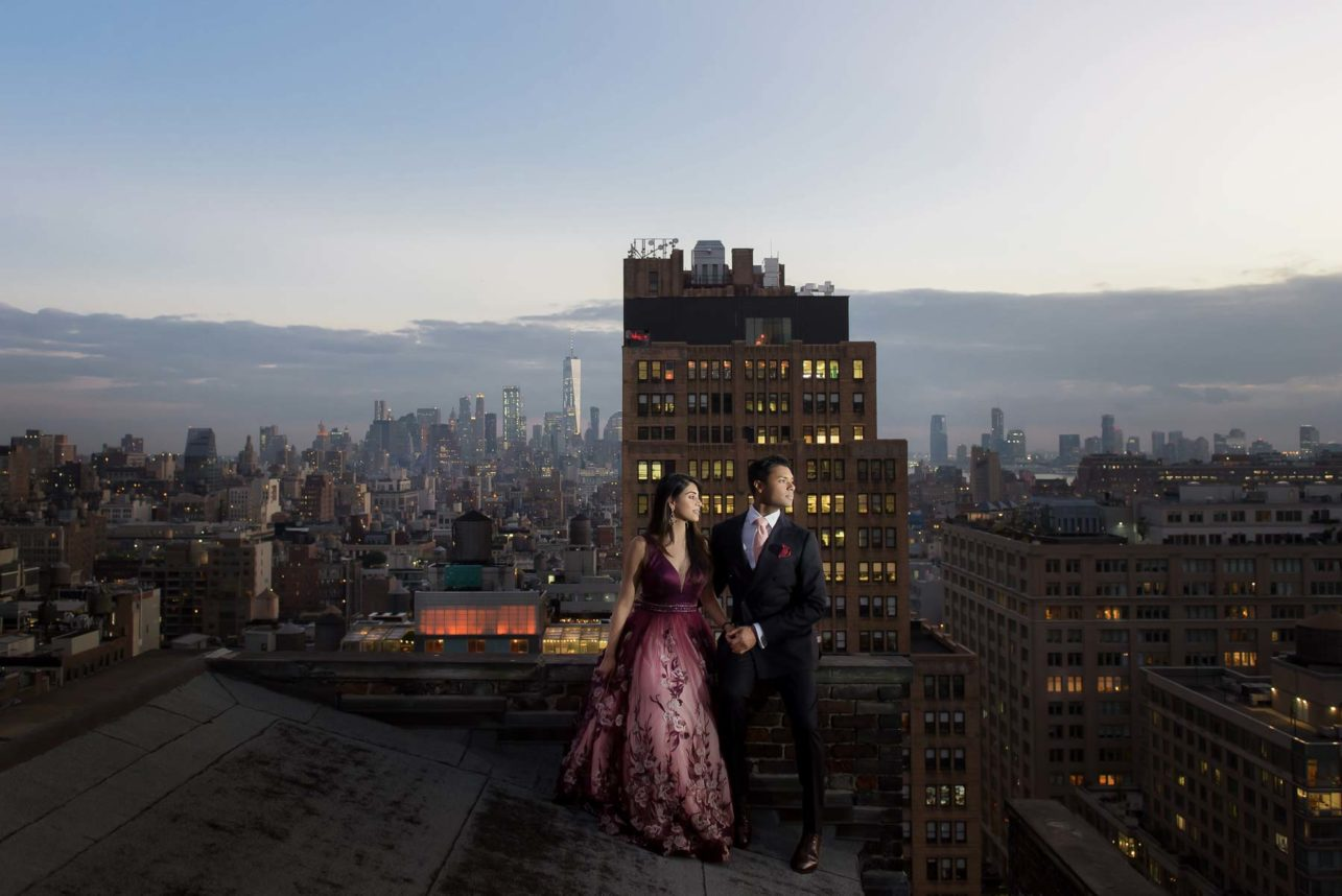 NYC rooftop engagement couple - photo by Maloman Studios