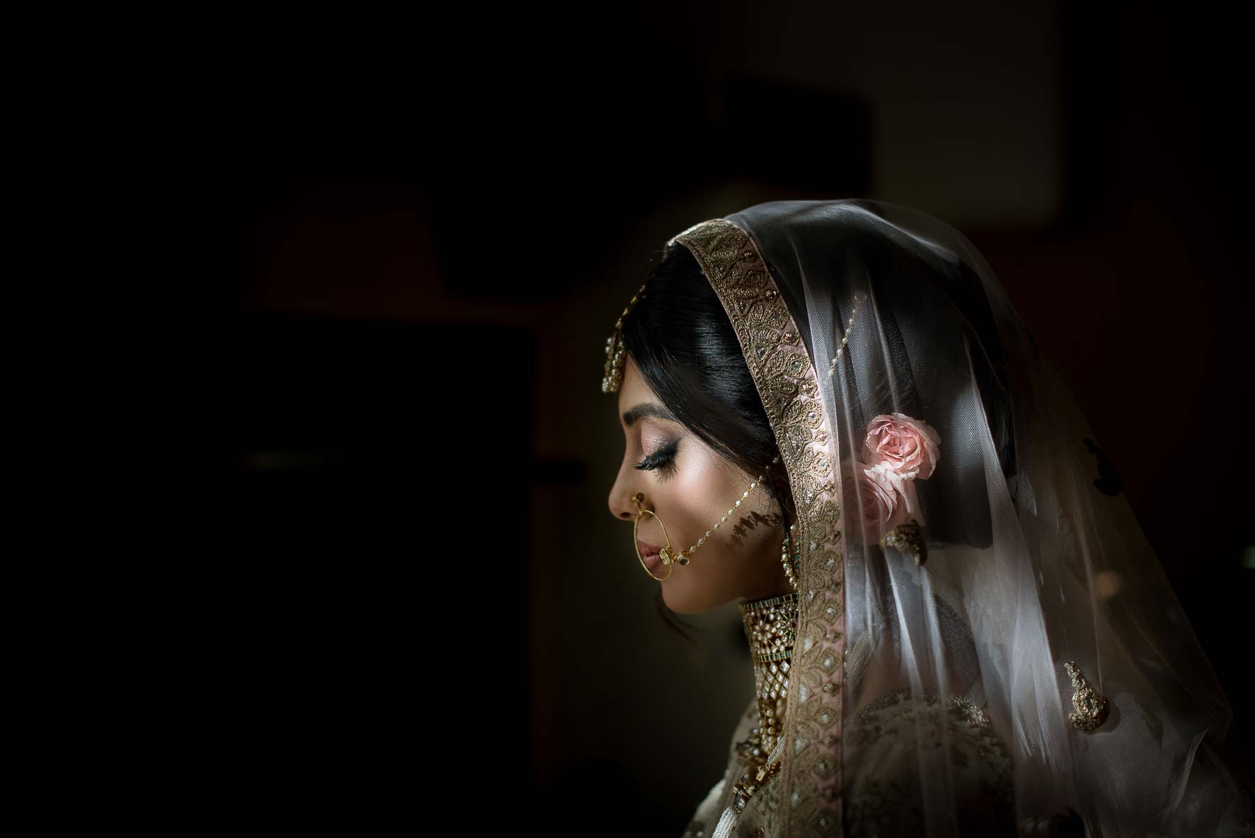 Profile bride portrait - photo by Maloman Studios