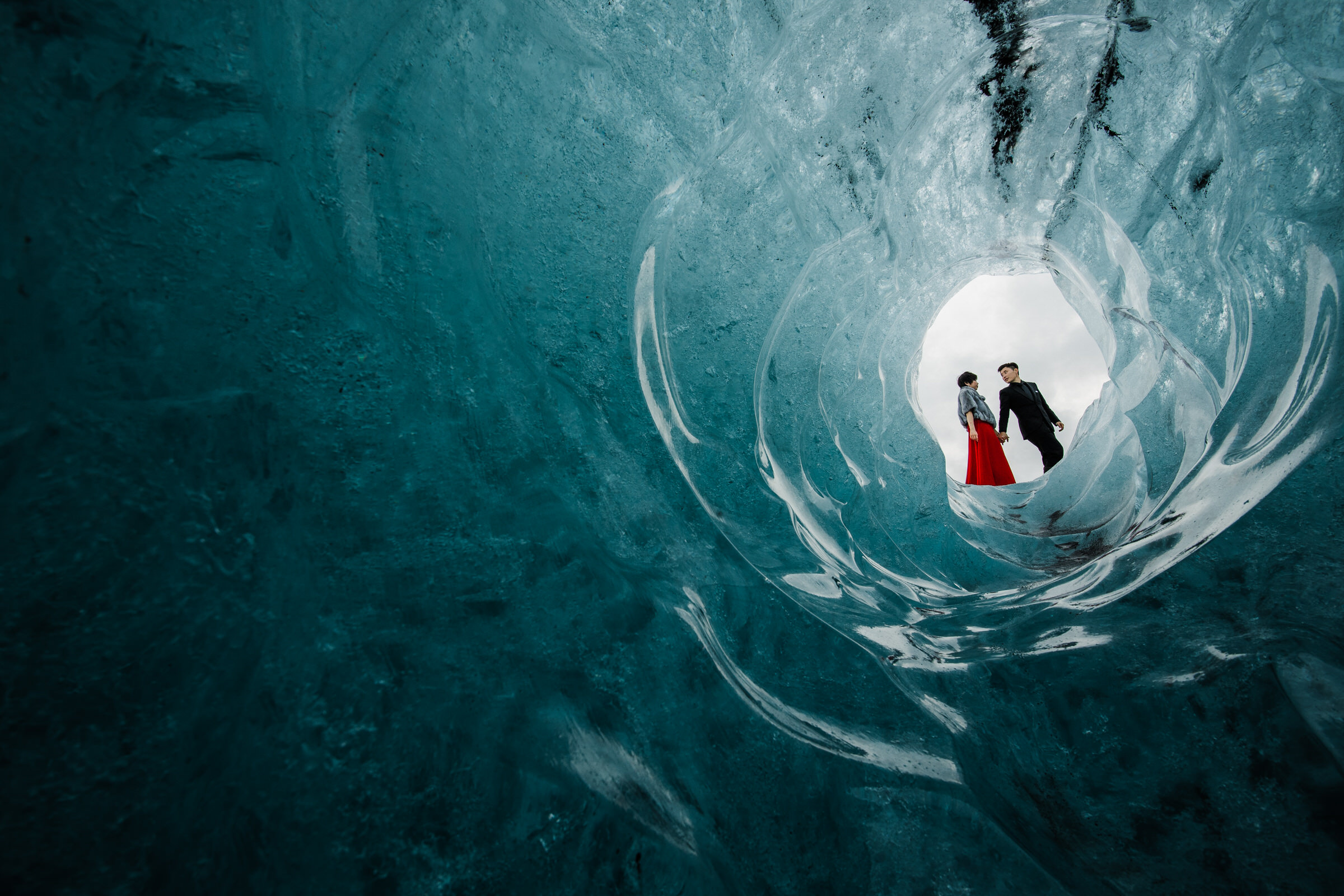 Elopement couple at ice tunnel in Iceland - photo by M&J Studios