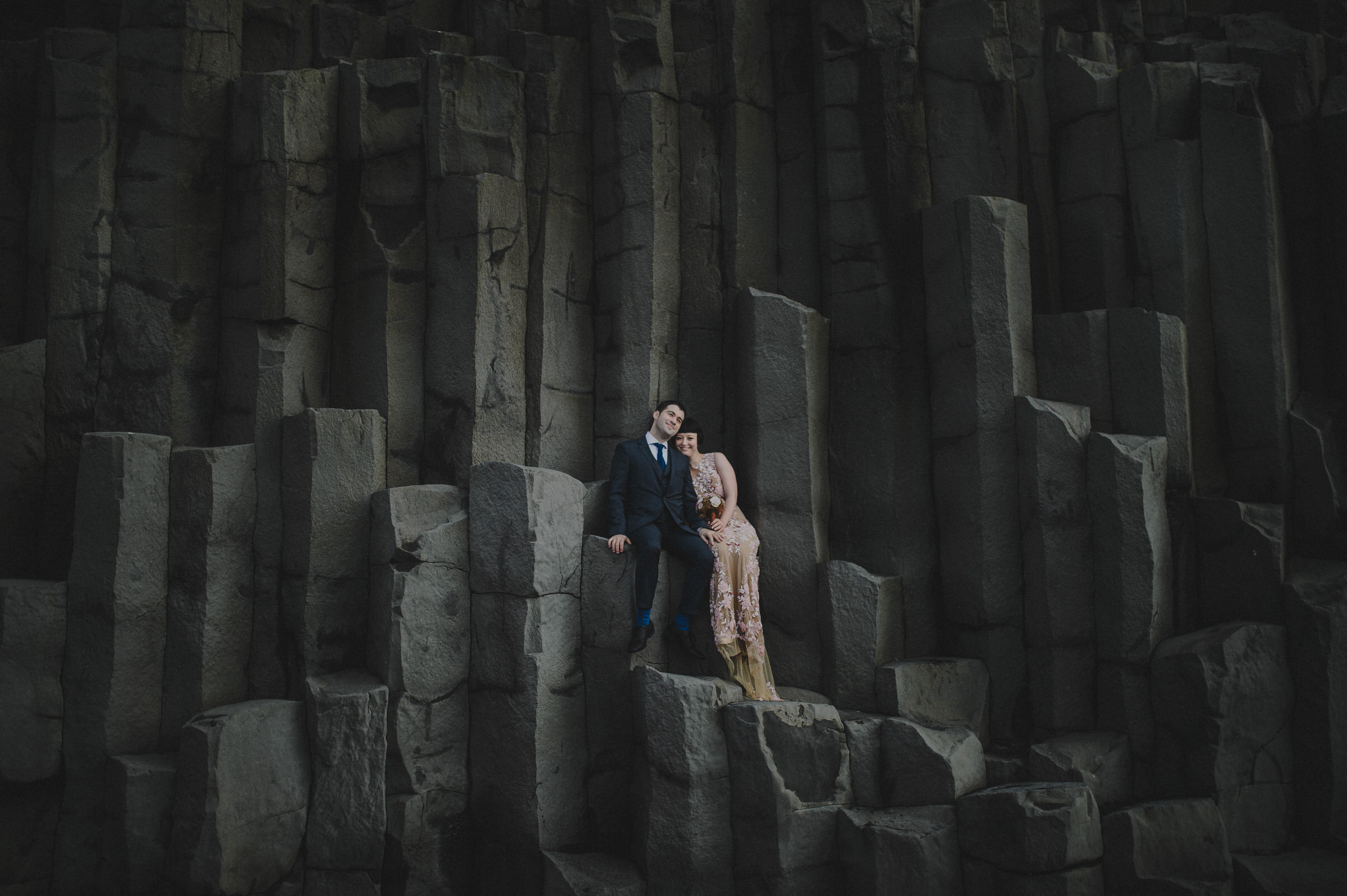 Elopement couple on cliffs in Iceland - photo by M&J Studios