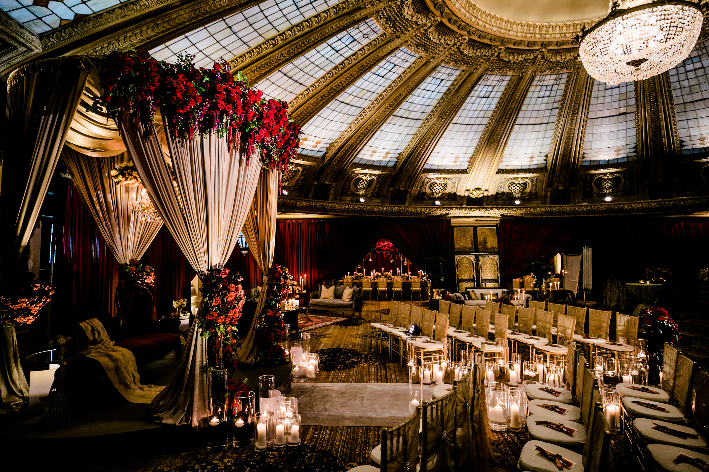 Creative composition of reception hall with drapery tent - photo by Into Dust Photography
