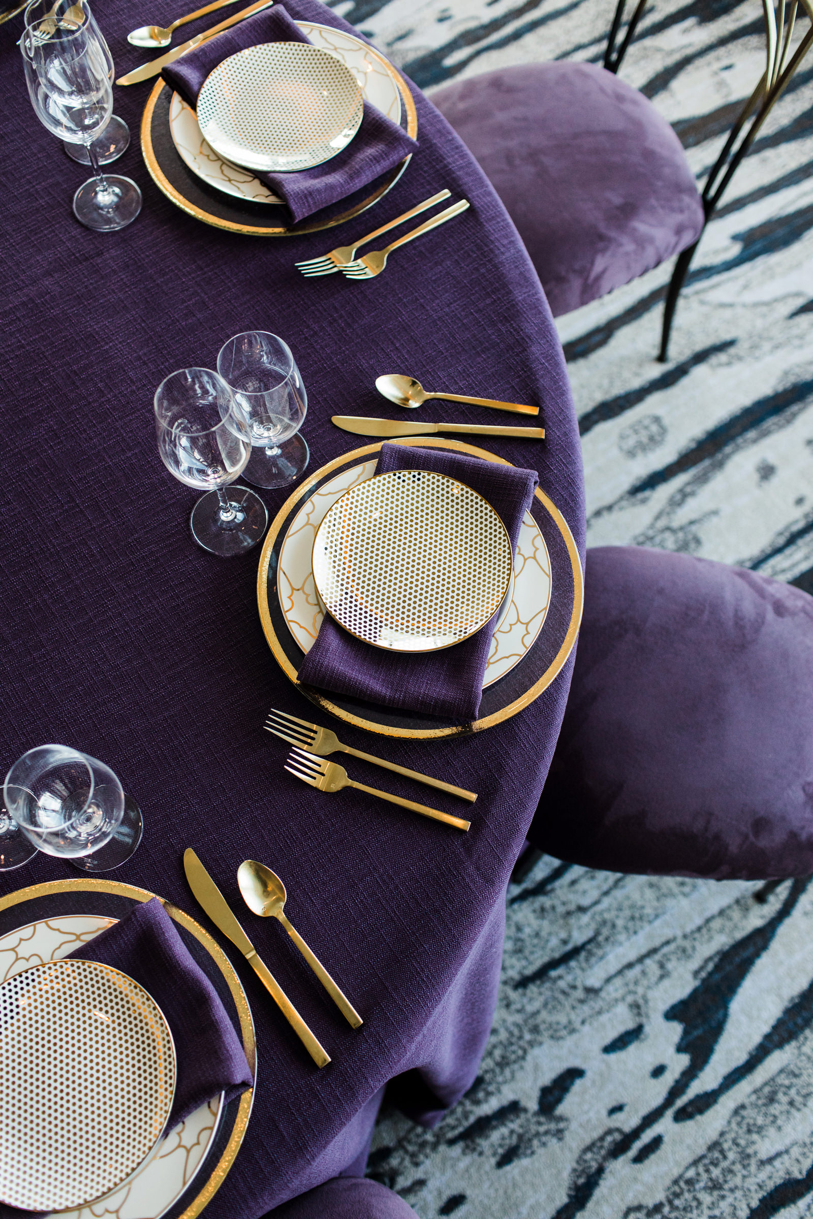 Detail of reception table in purple - photo by Into Dust Photography