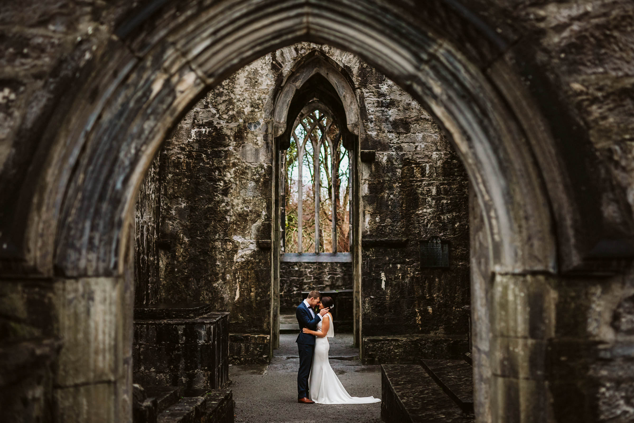 bride and groom portrait in historic venue, ireland- photo by Lima Conlon Photography
