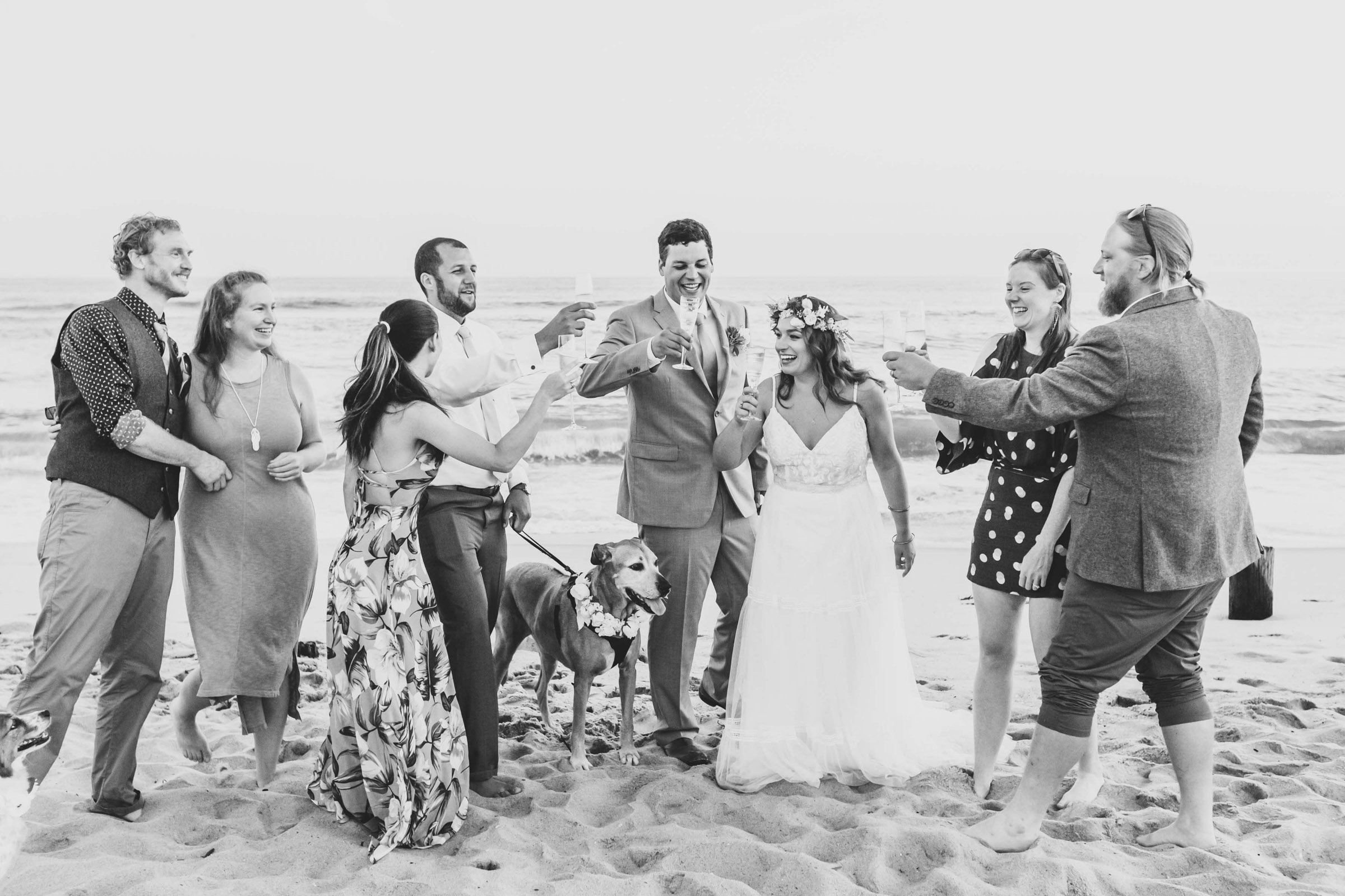 Beach toast for the couple Cap Cod - photo by Katie Kaizer Photography