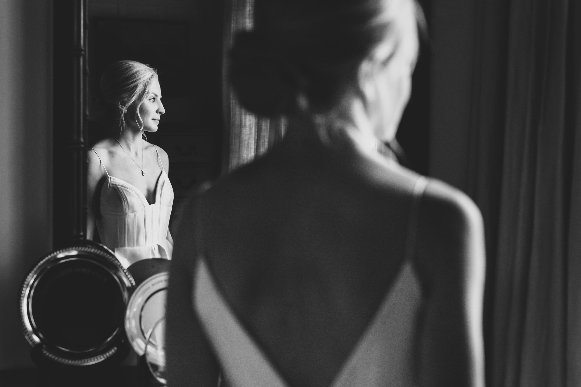 Bride reflected - photo by Katie Kaizer Photography