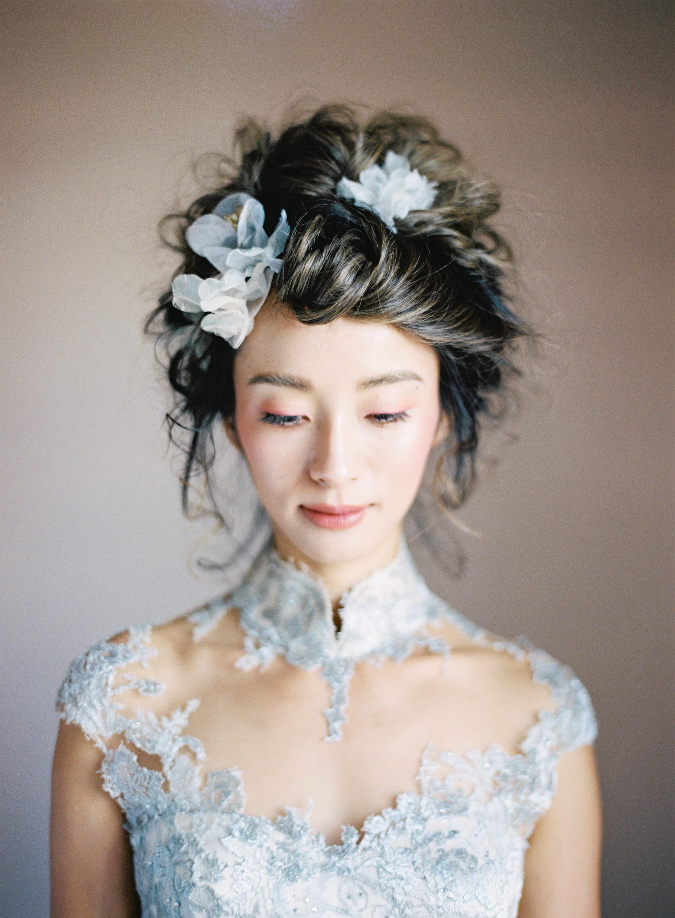 Downcast eyes bride portrait - photo by Jen Huang