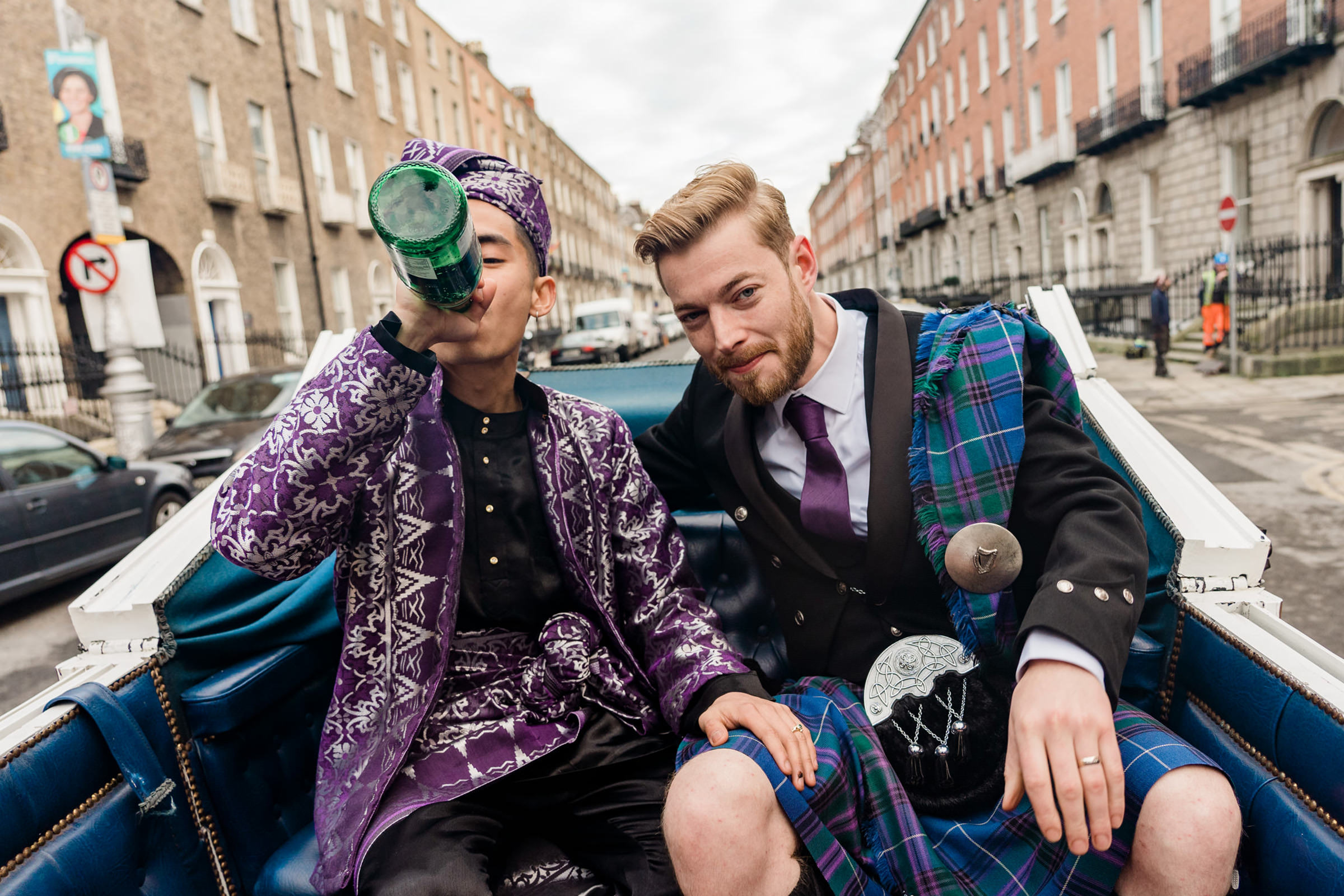High style grooms in car Ireland - photo by The Portrait Rooms