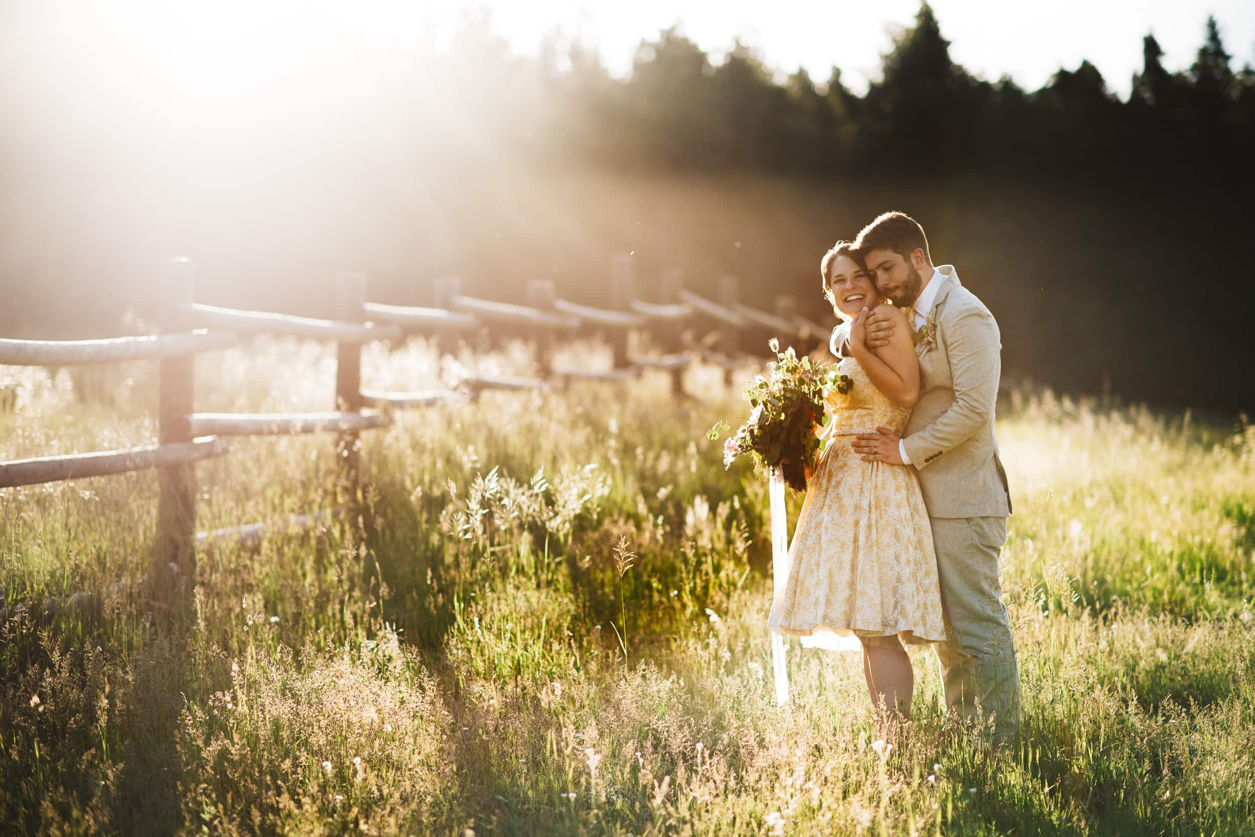 Engagement couple in late afternoon sun - photo by Kate Merrill Photo