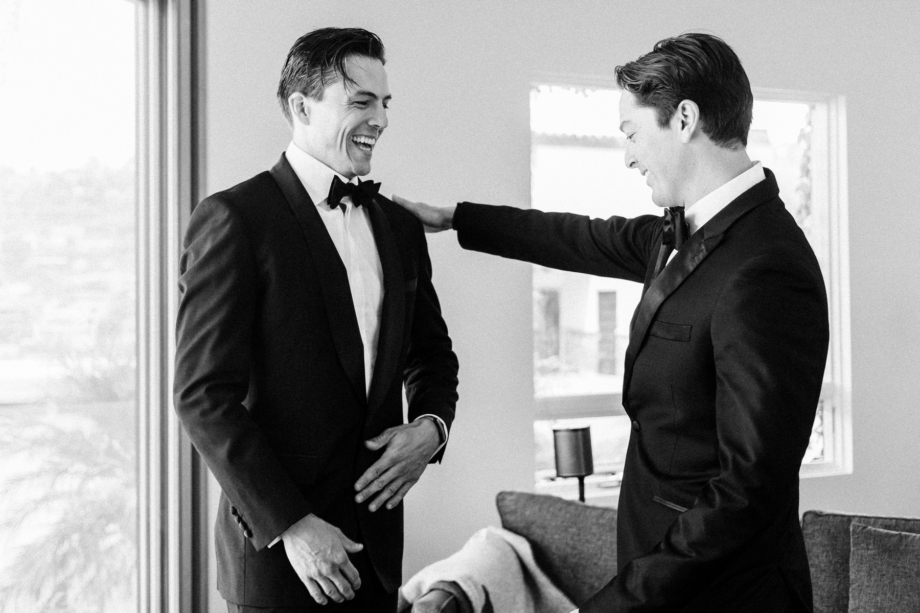 Groom and best man in their tuxedos - photo by John & Joseph