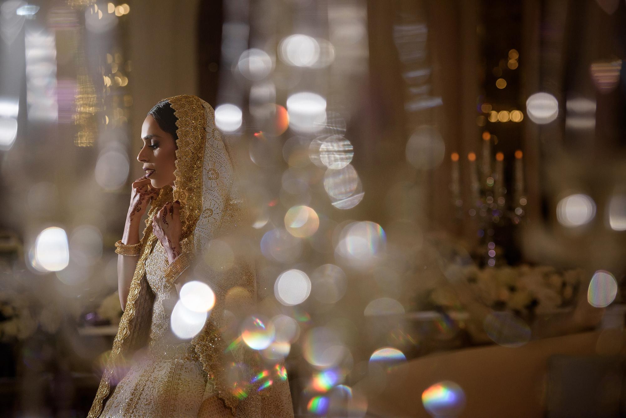 Veiled bride bokeh lighting - photo by 37 Frames
