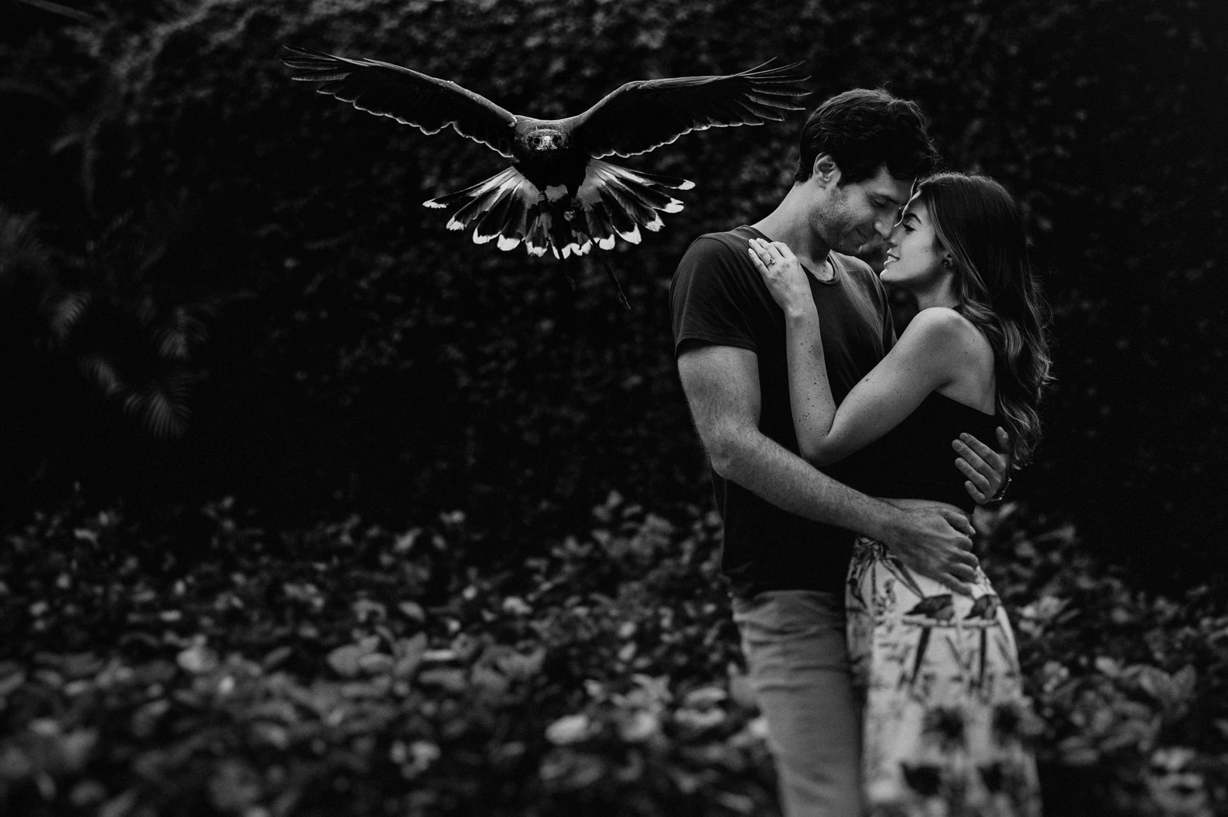 Couple with bird flying into camera - photo by Fer Juaristi