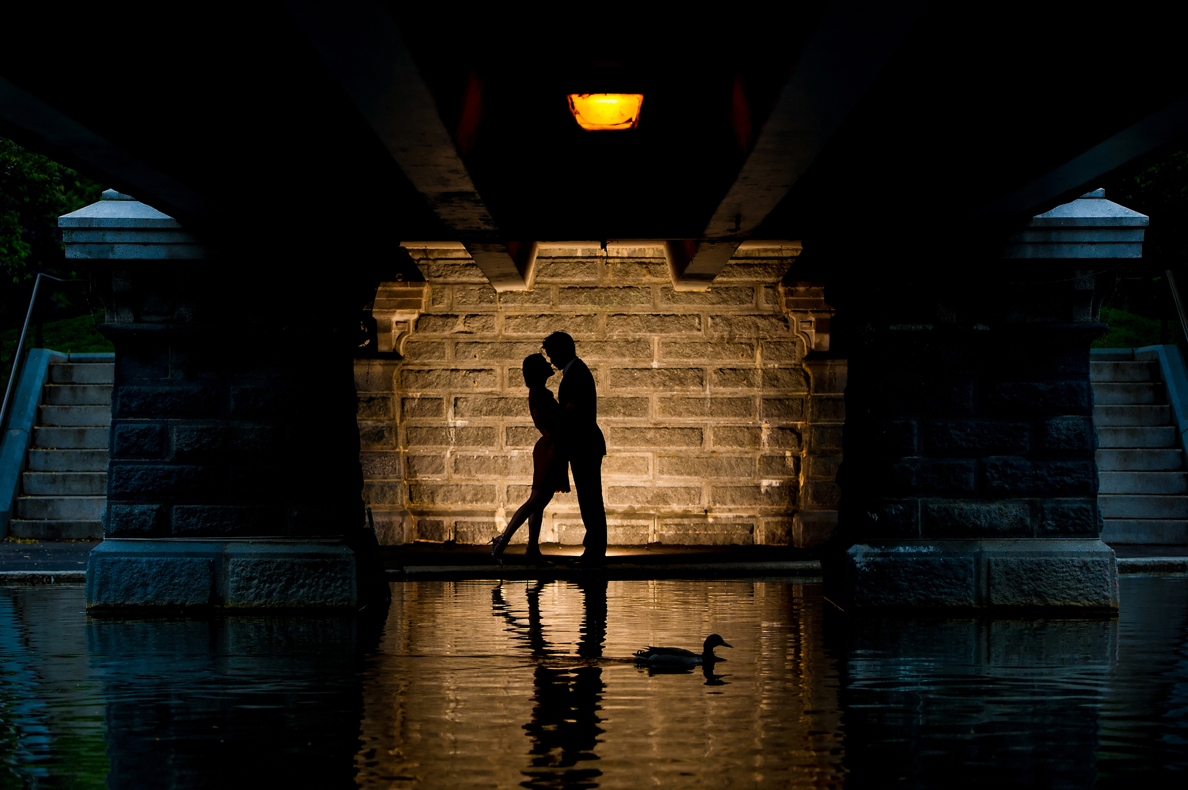 Couple silhouette against stone wall - photo by Morgan Lynn Photography