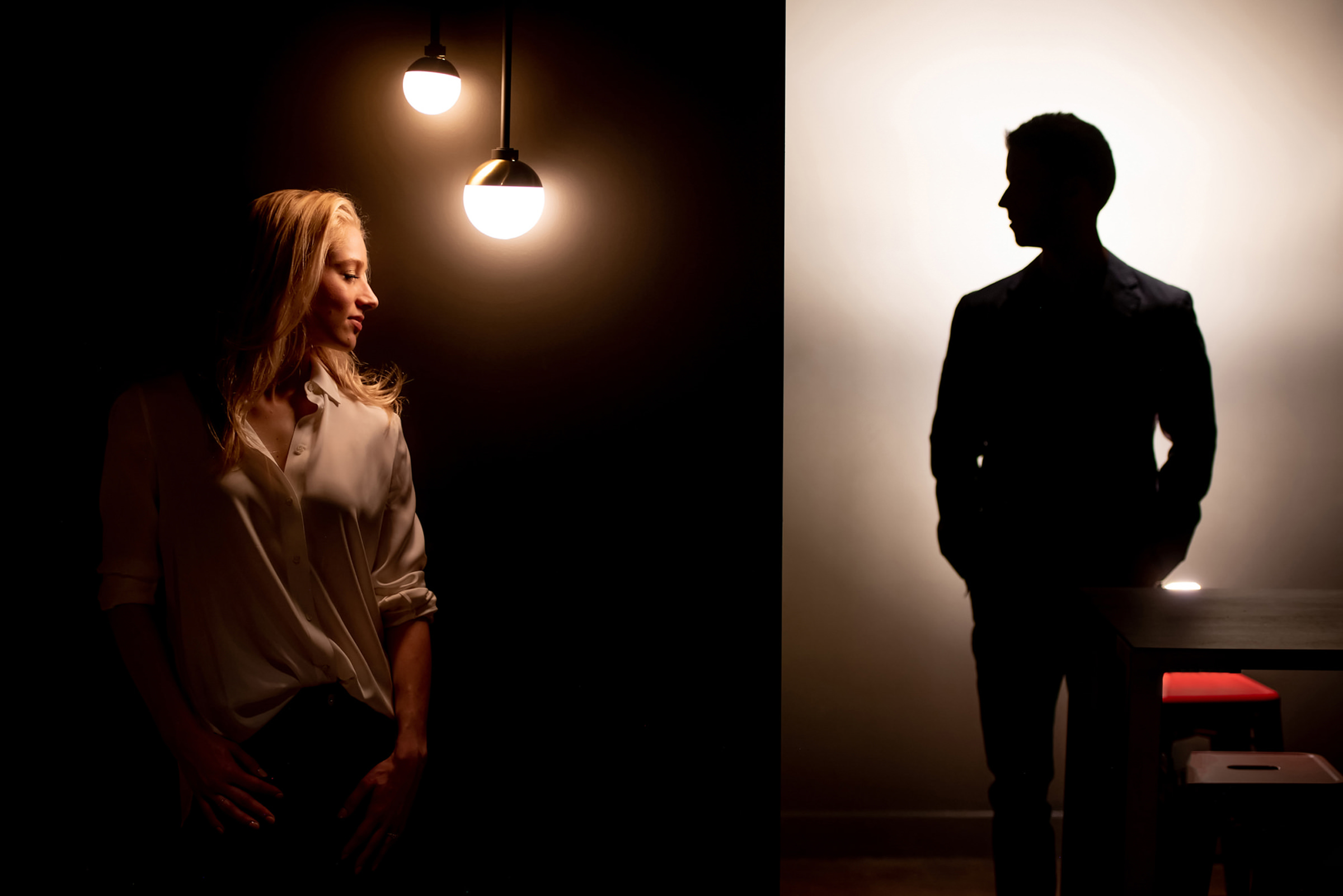 Creative couple portrait in dark and light - photo by Morgan Lynn Photography