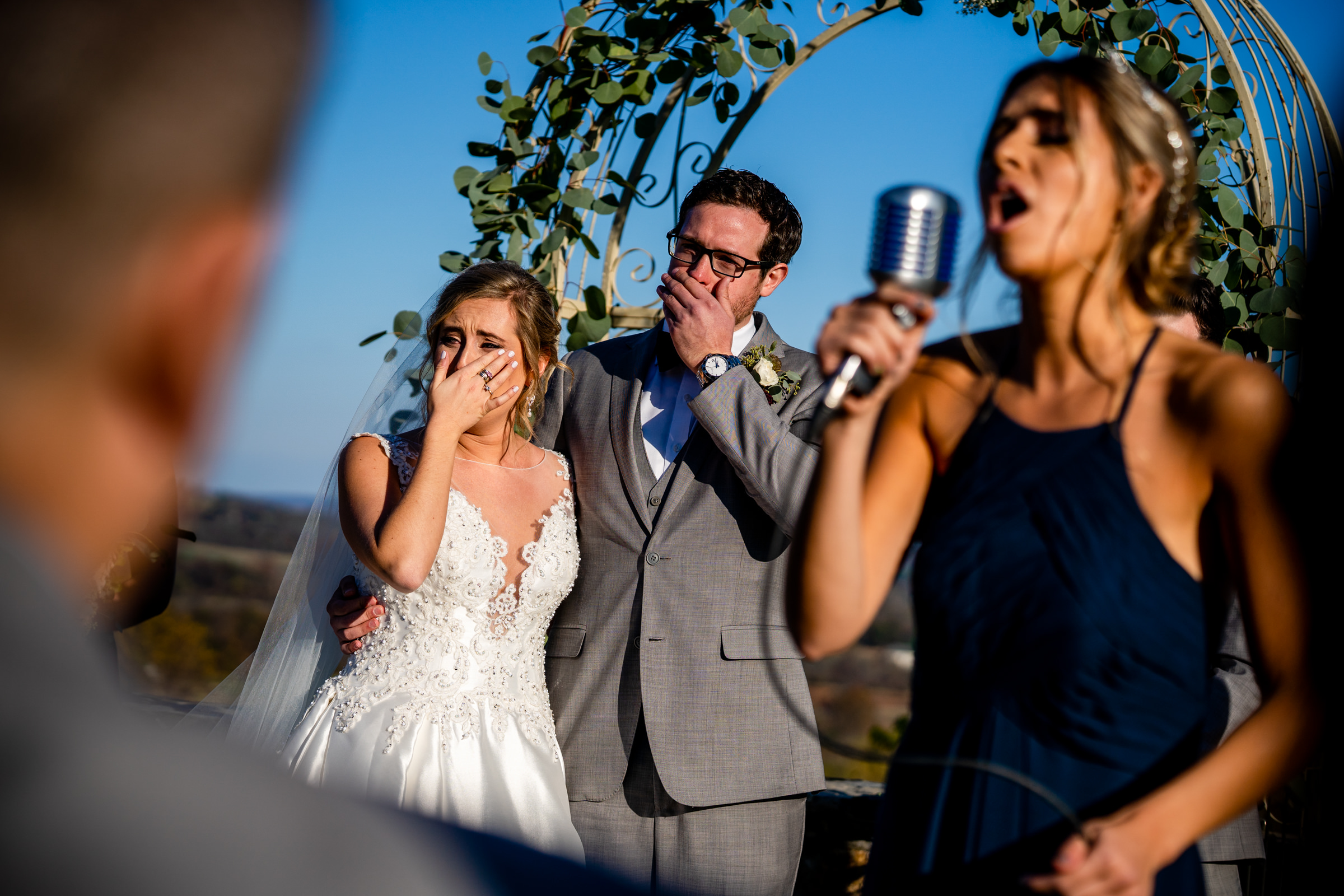 Bride and groom get emotional at ceremony photo by Bee Two Sweet