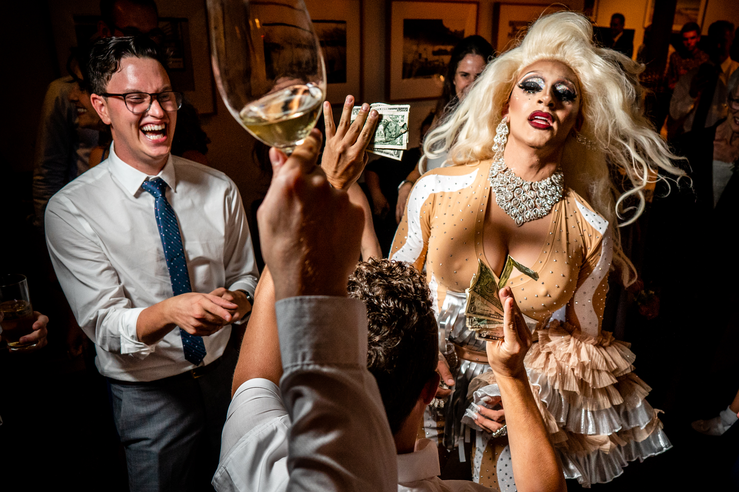 Drag queen at a wedding reception photo by Bee Two Sweet