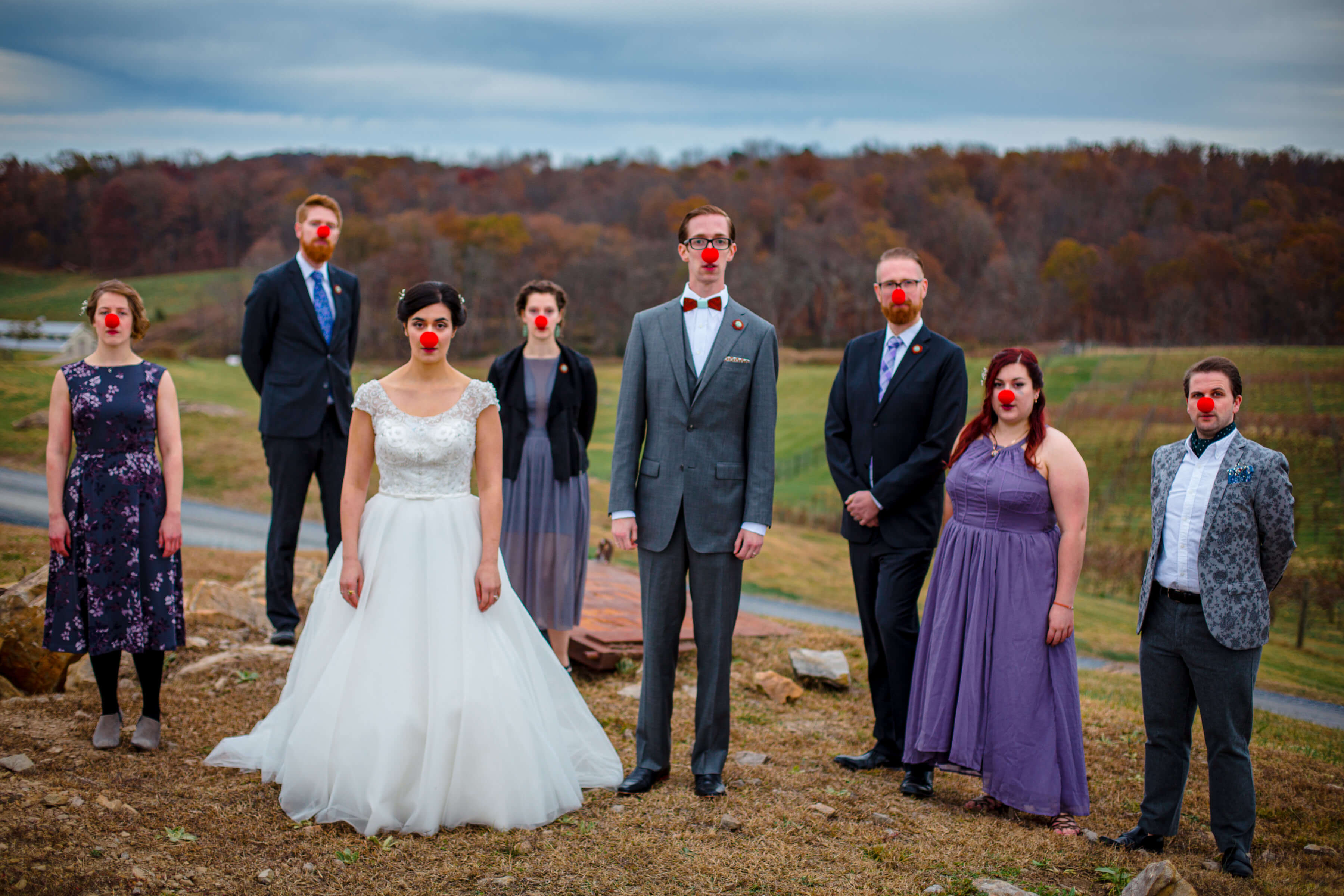 bridal party with red noses portrait- photo by Bee Two Sweet