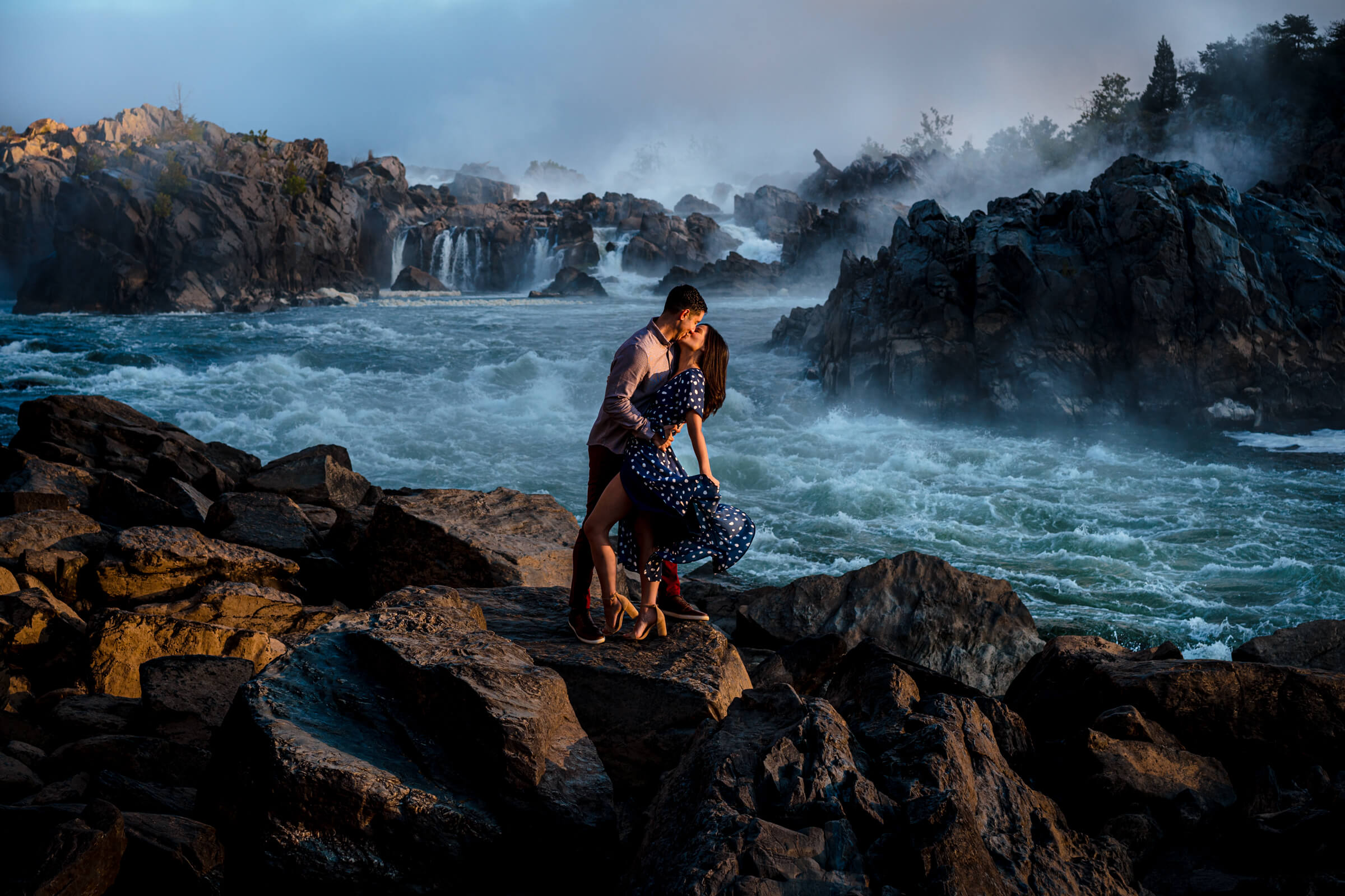 Great Falls adventure elopement couple at falls - photo by Bee Two Sweet