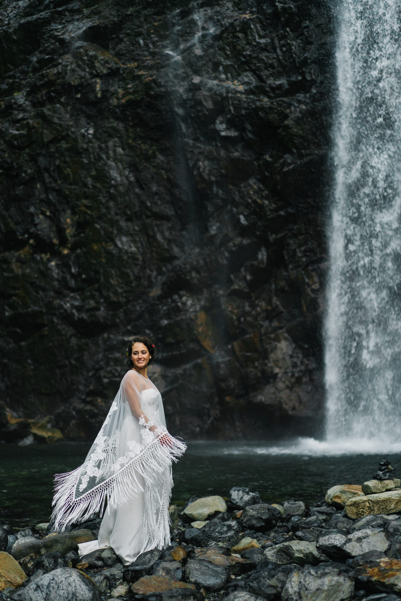 Bridal portrait at waterfall - photo by Sasha Reiko Photography