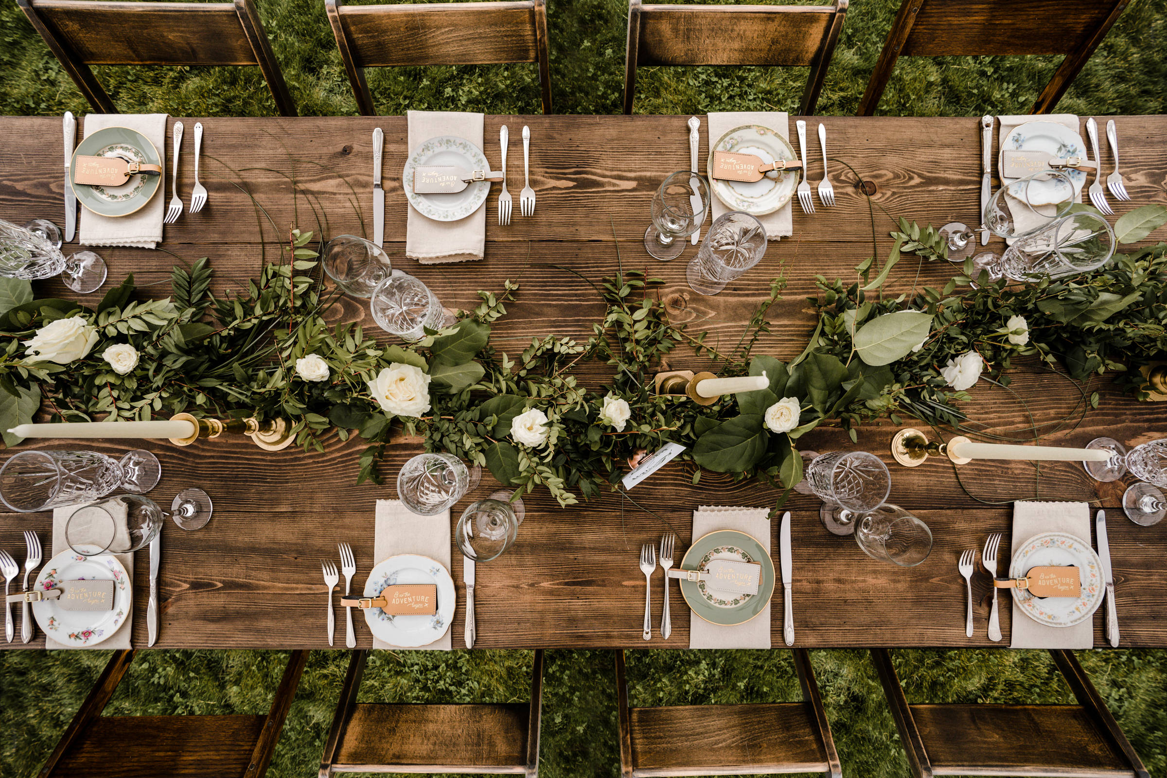 Top down tablescape - photo by Sasha Reiko Photography