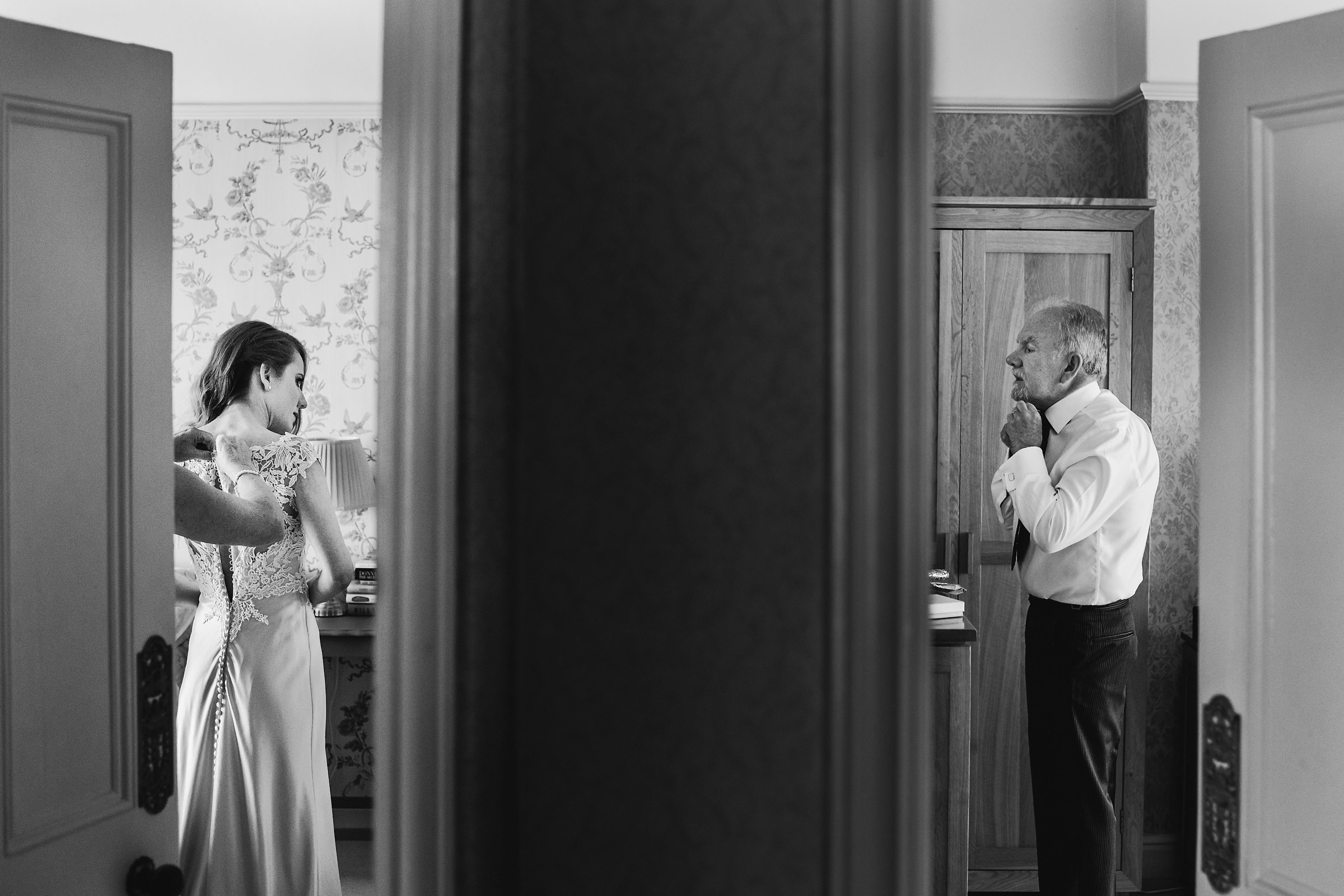 Bride and dad getting ready photo by Andy Gaines Photography