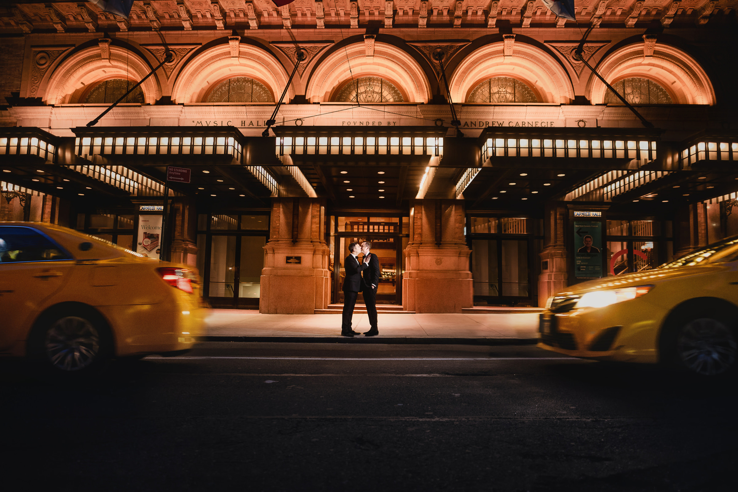 Grooms against Carnegie Hall - photo by Andy Gaines Photography