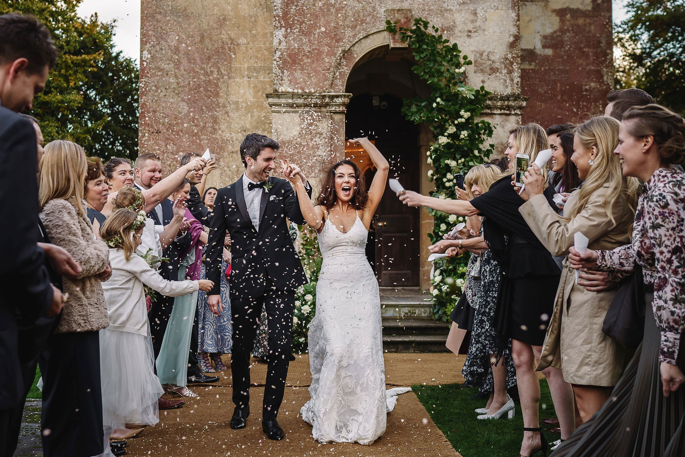 Babbington House church wedding couple exit - photo by Andy Gaines Photography