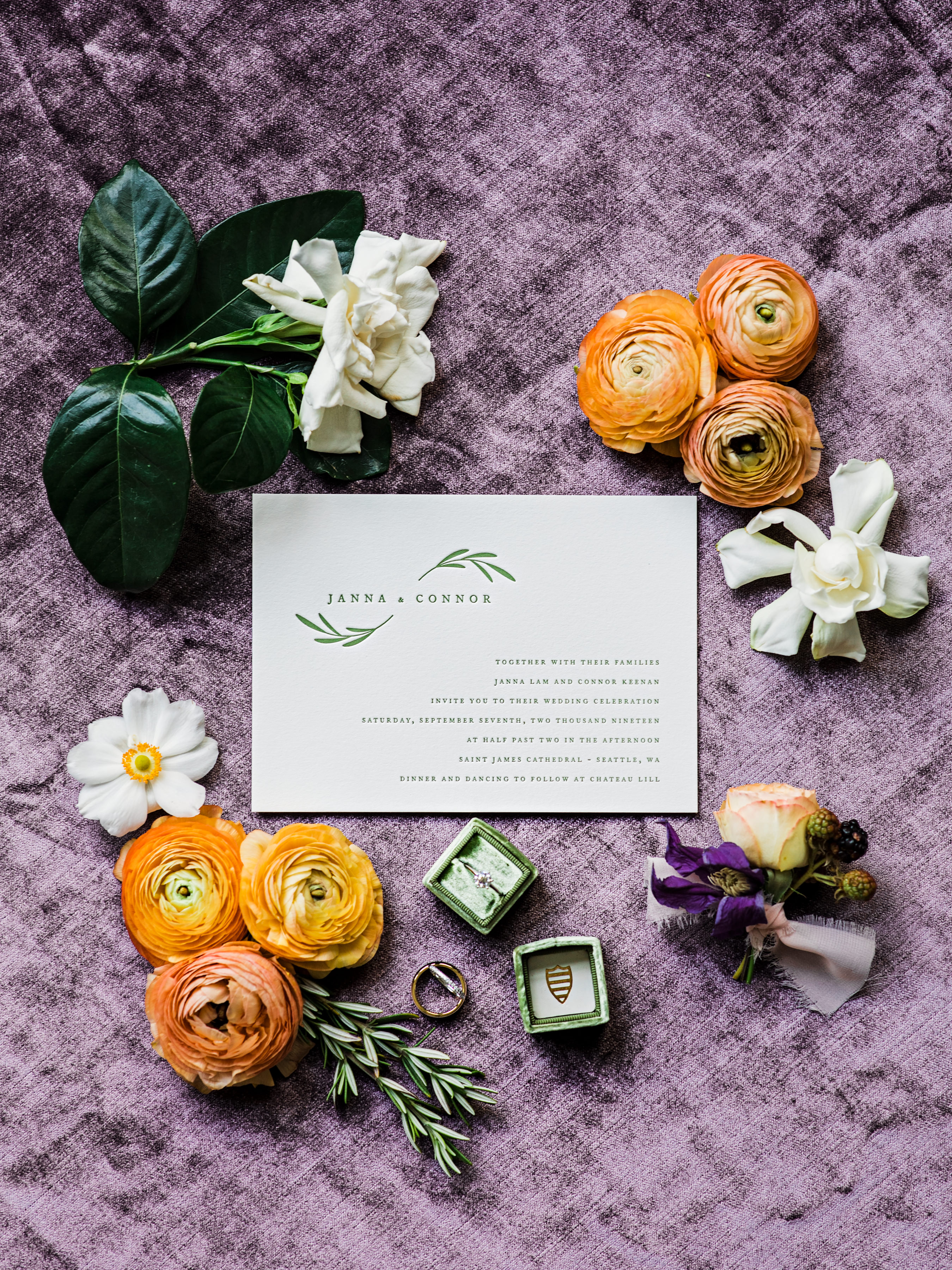 flat lay in purple and orange - photo by Alante Photography
