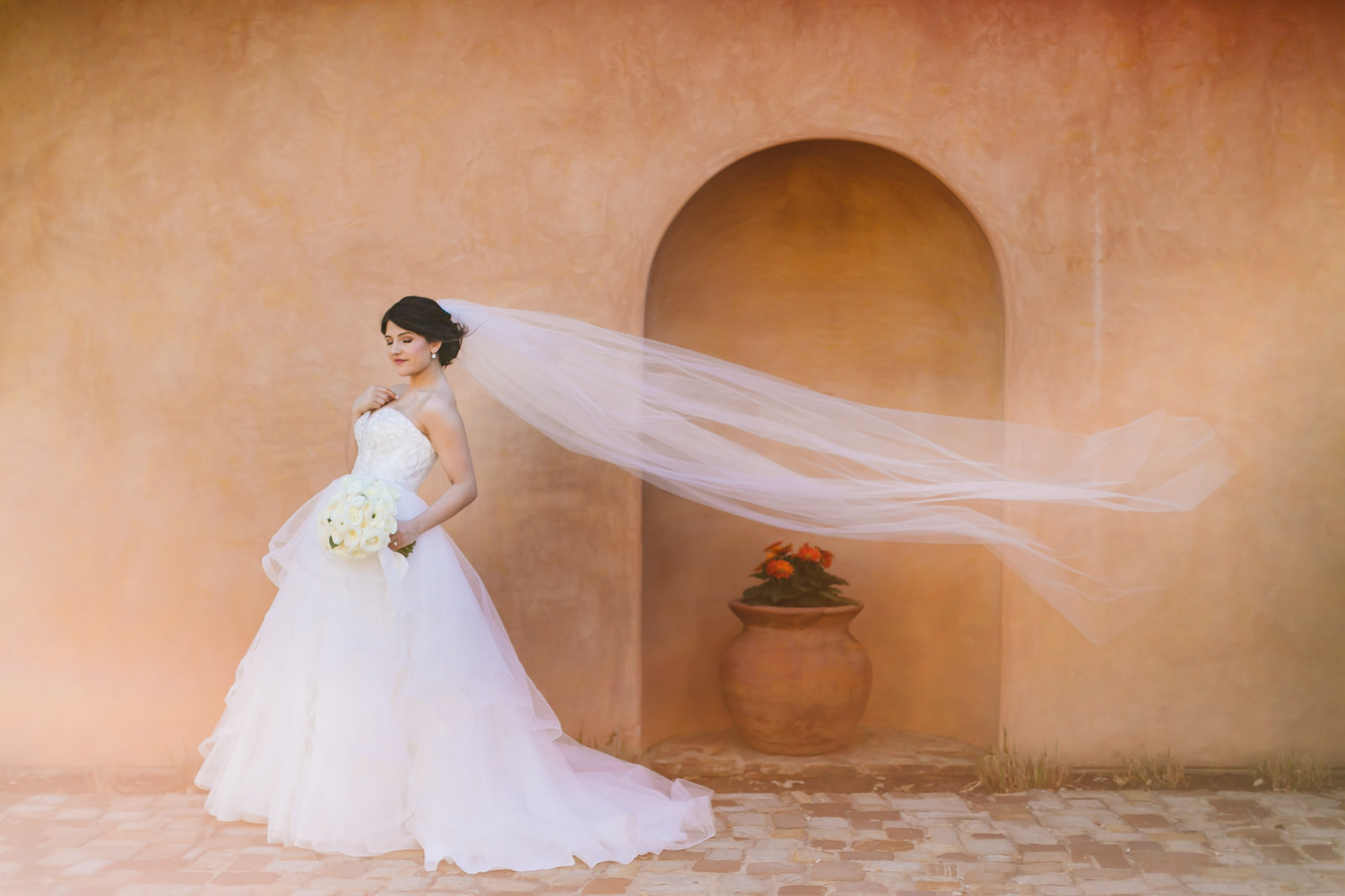 Bride portrait with veil in the wind - photo by AL Gawlik Photography