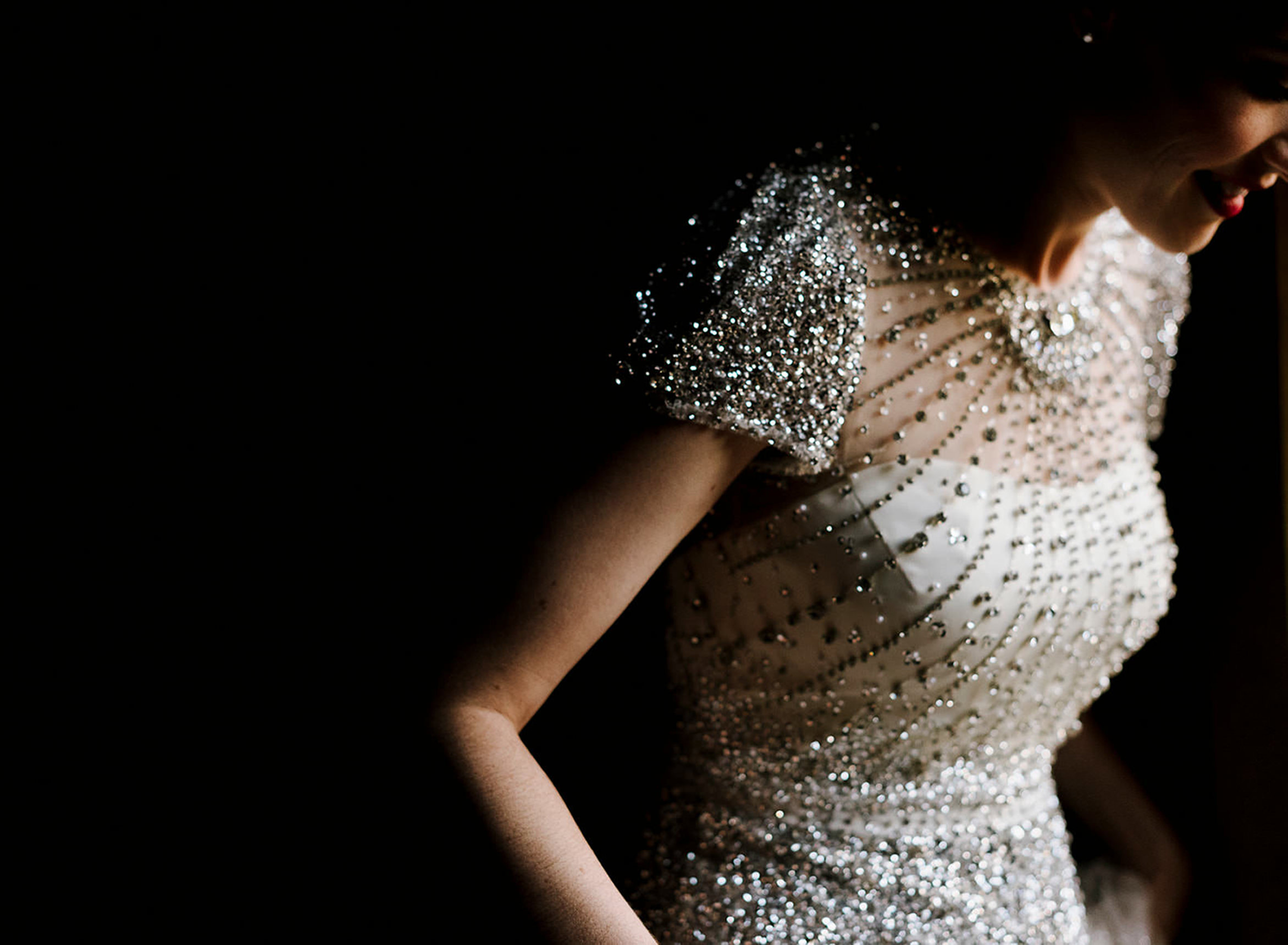 Bride in beautiful beaded bodice - photo by Thierry Joubert Photography