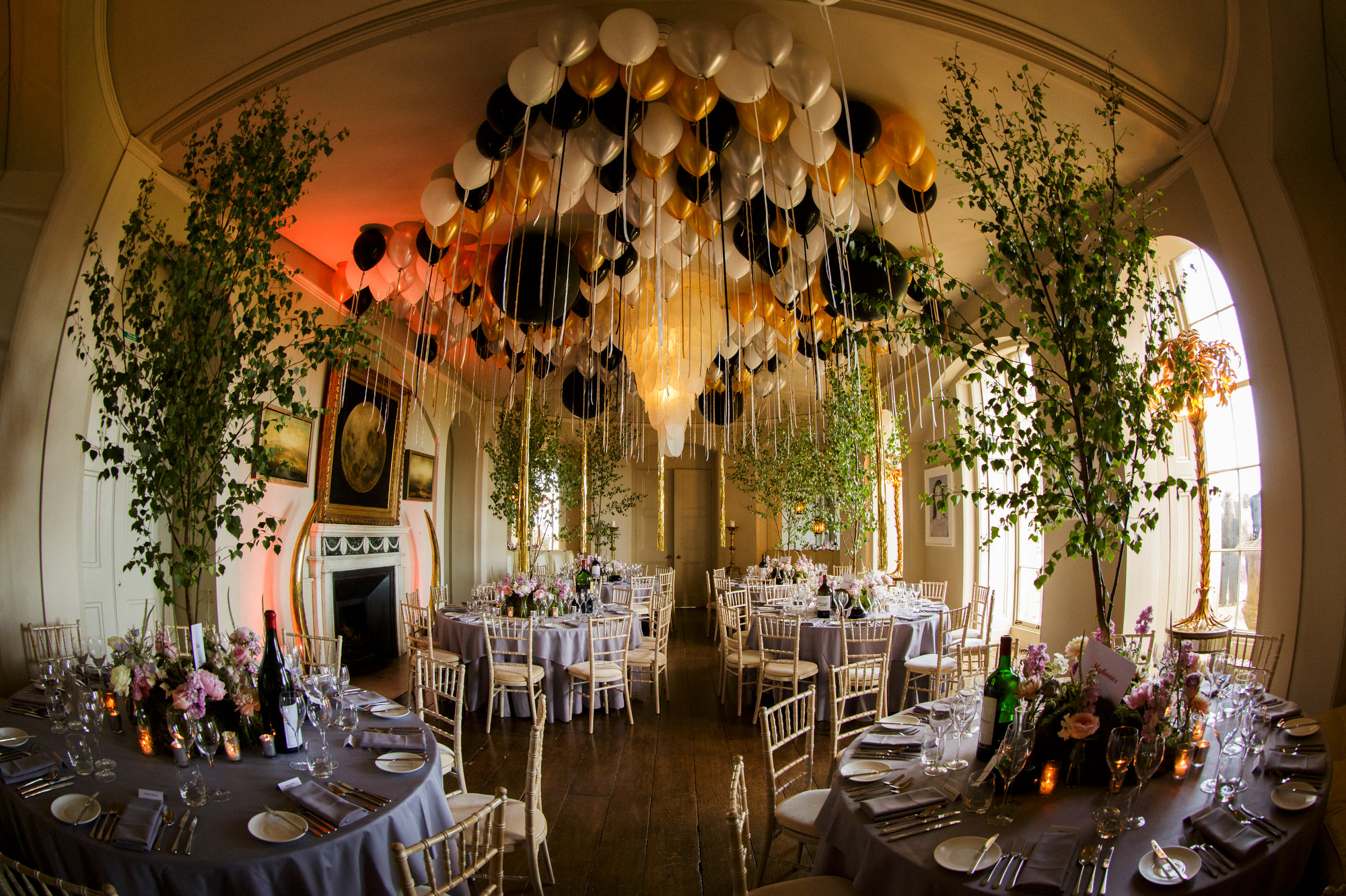 Aynho reception hall with balloons - photo by Jeff Ascough