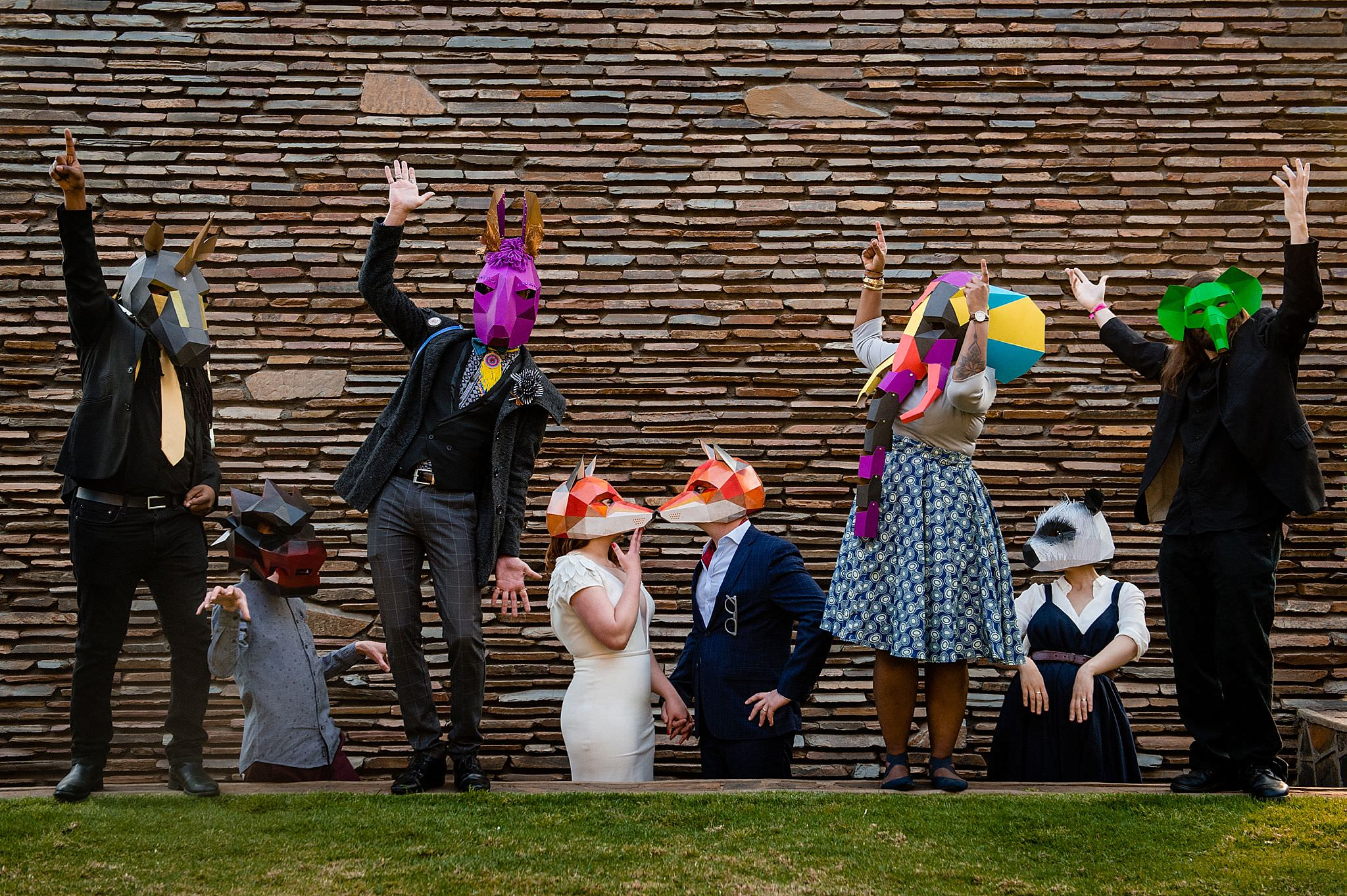 Bridal party wearing animal masks - photo by Jacki Bruniquel - South Africa