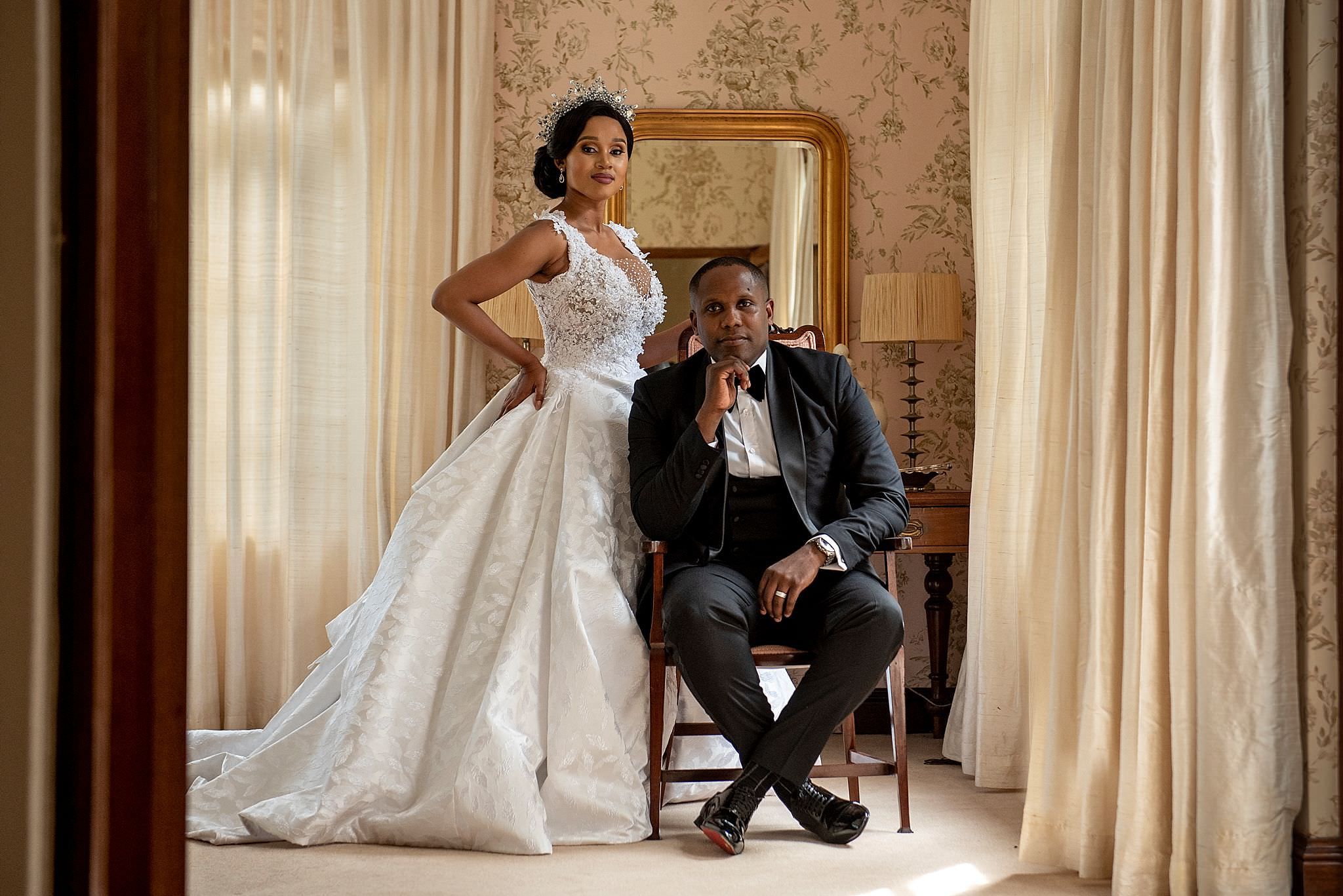 Couple portrait with drapery - photo by Jacki Bruniquel