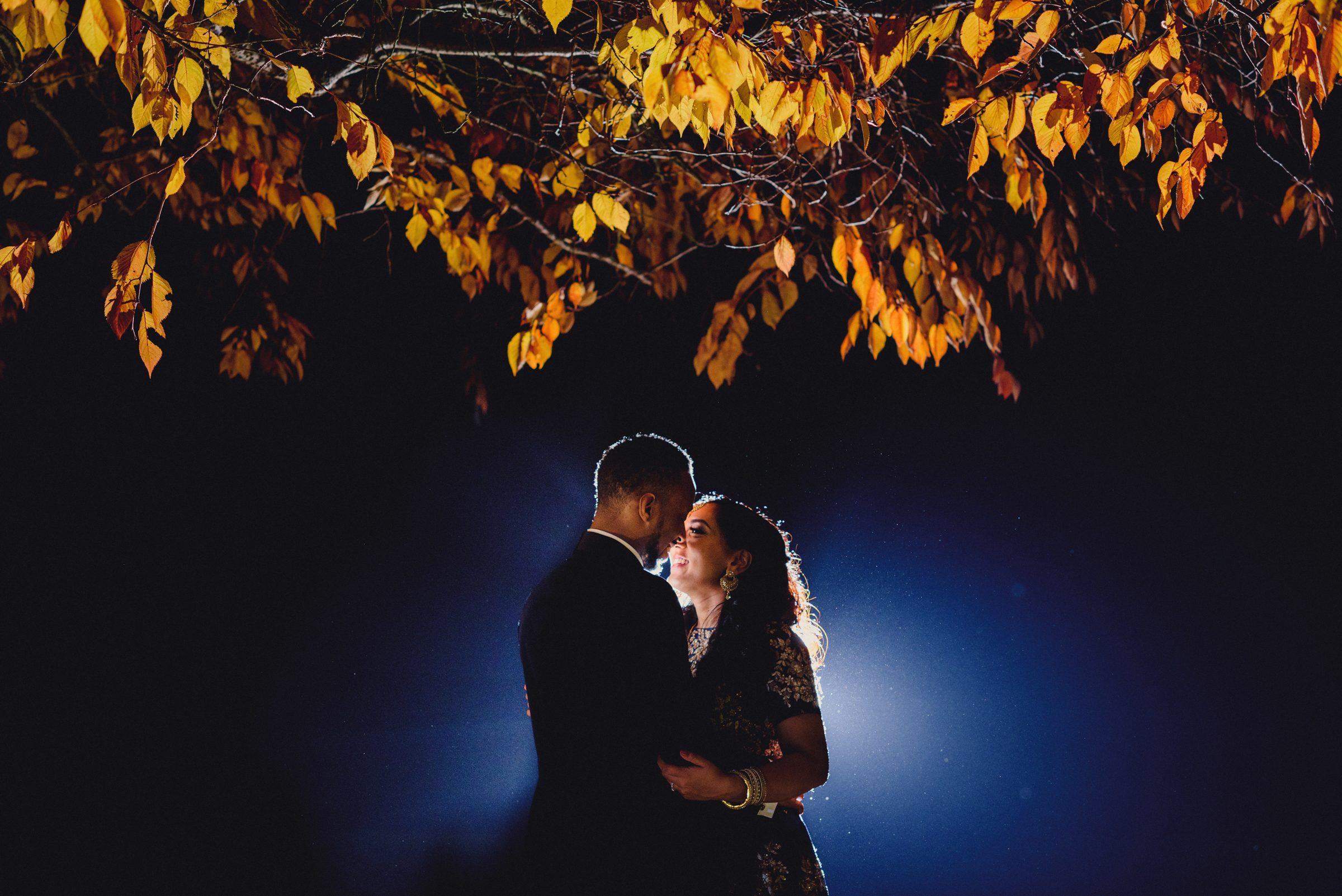 Backlit nighttime portrait under bright autumn leaves - photo by MIKI Studios
