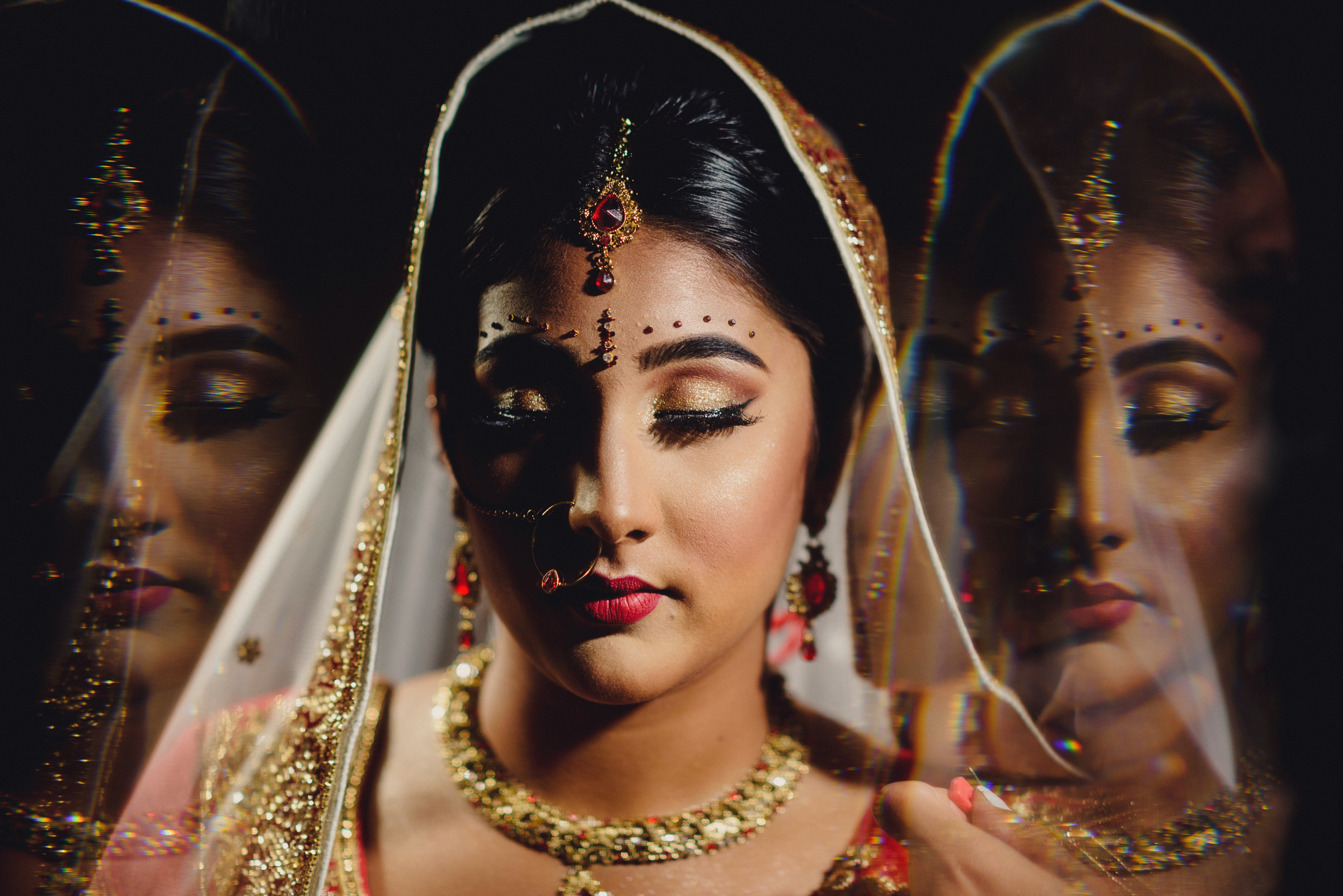 Multiple exposure of Indian bride - photo by MIKI Studios