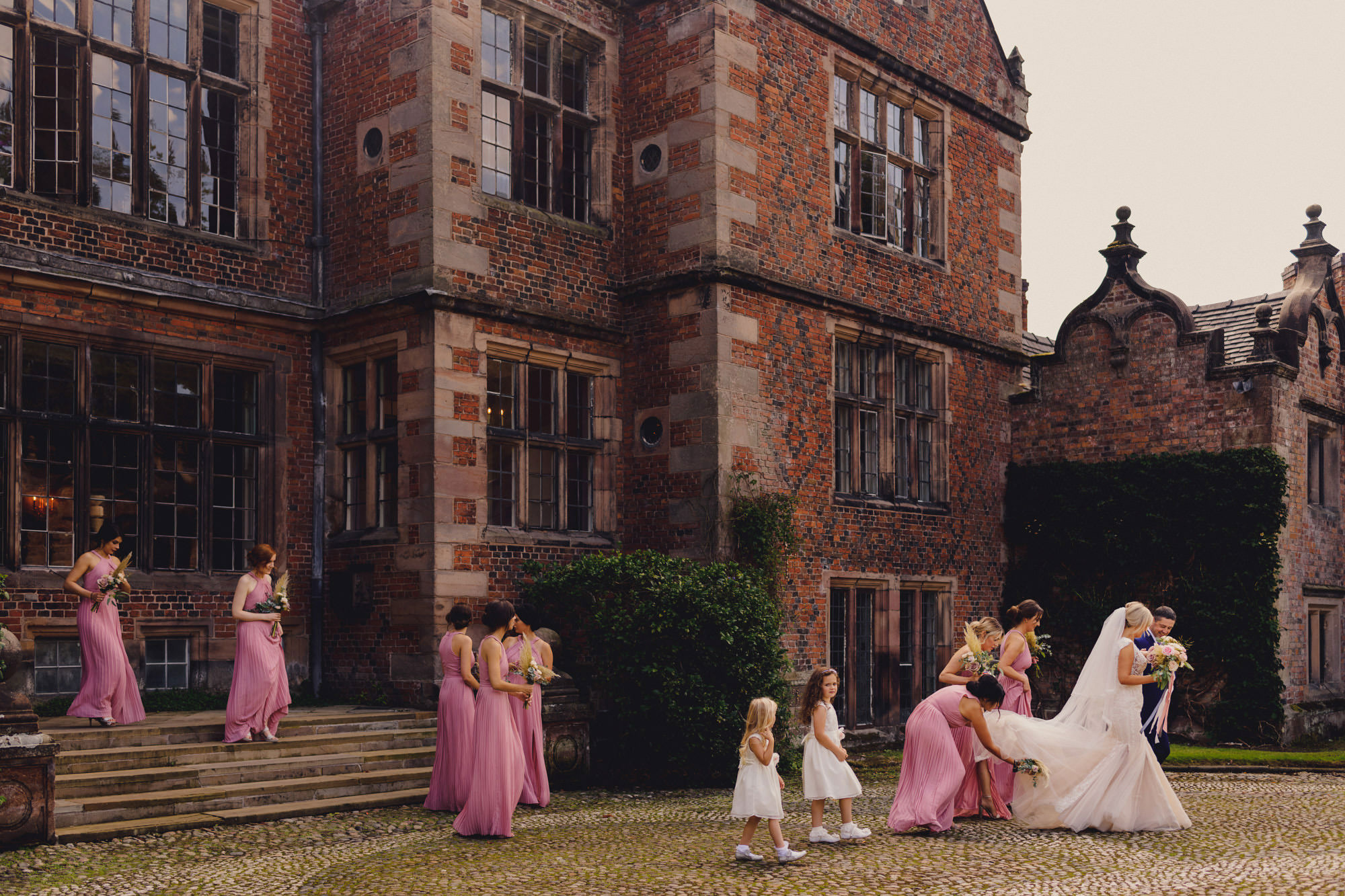 Bridal party leaving Dorfold Hall - photo by MIKI Studios