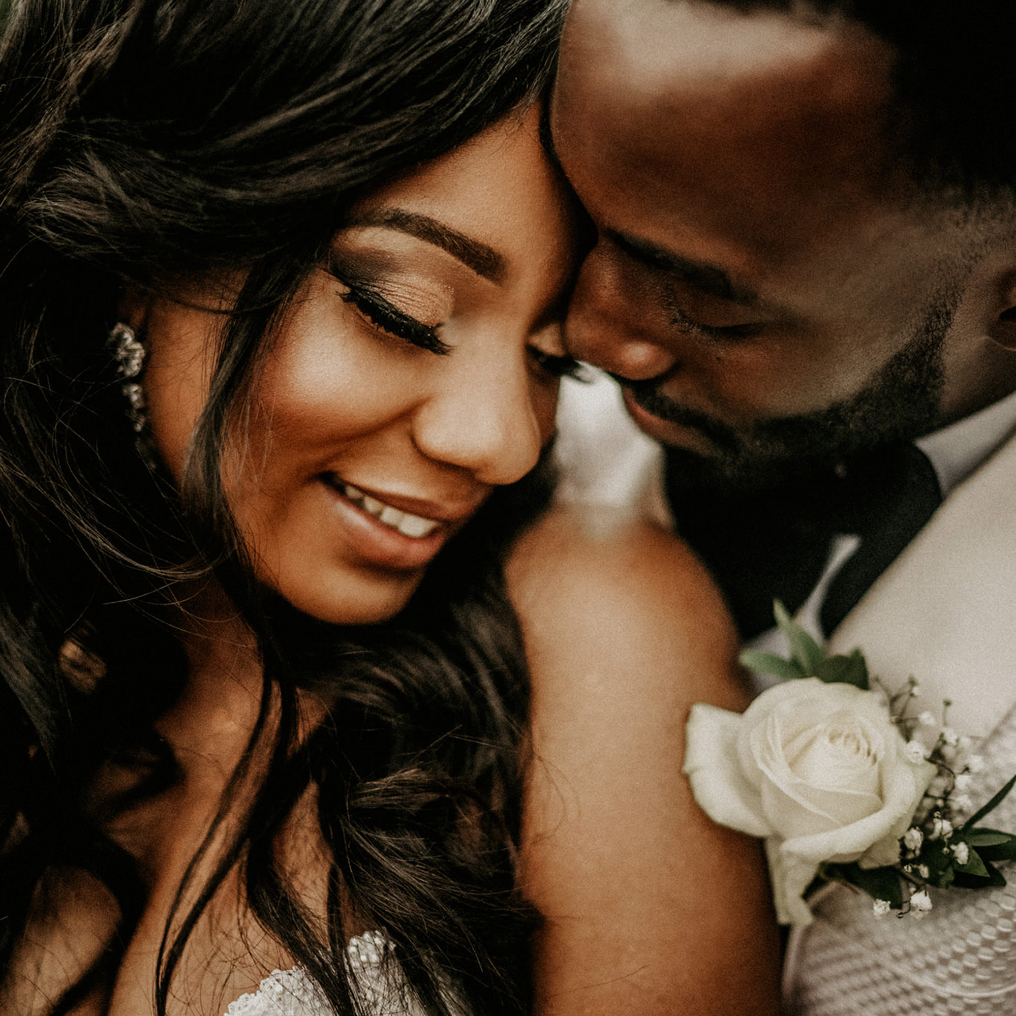 close up of bride and groom moment- photo by MIKI Studios