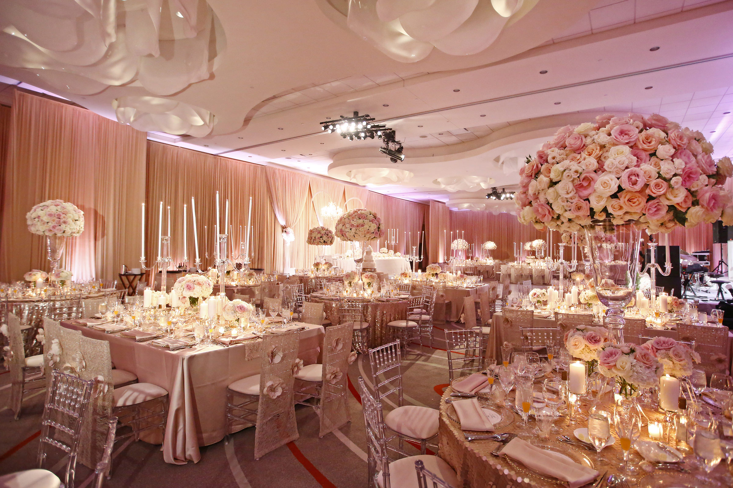 Pink reception decor - photo by Kenny Kim Photography