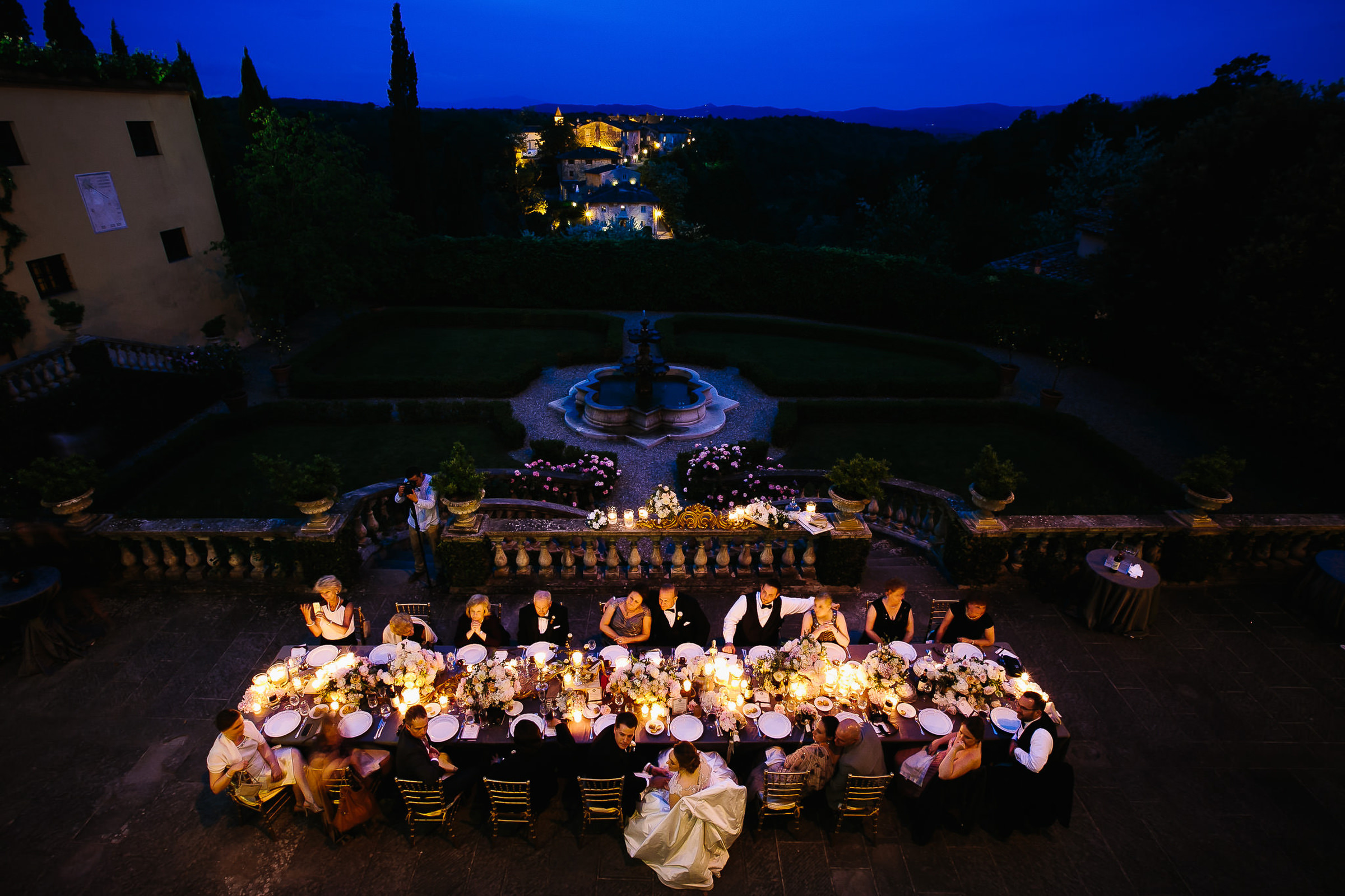 IL BORRO, Italy, aerial view of outdoor reception - photo by Julian Kanz Photography