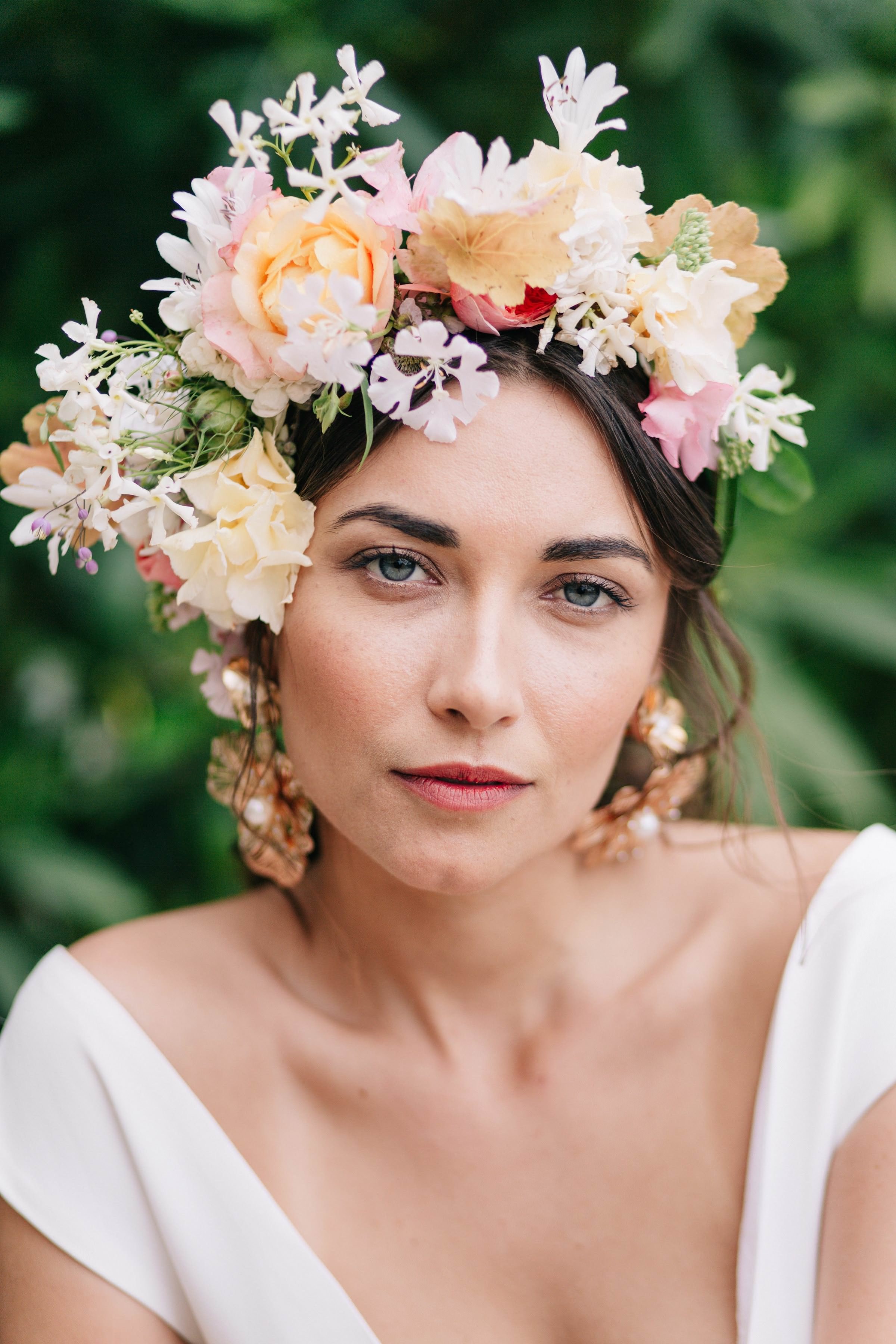 bride with floral headpiece- photo by Amandine Ropars, france