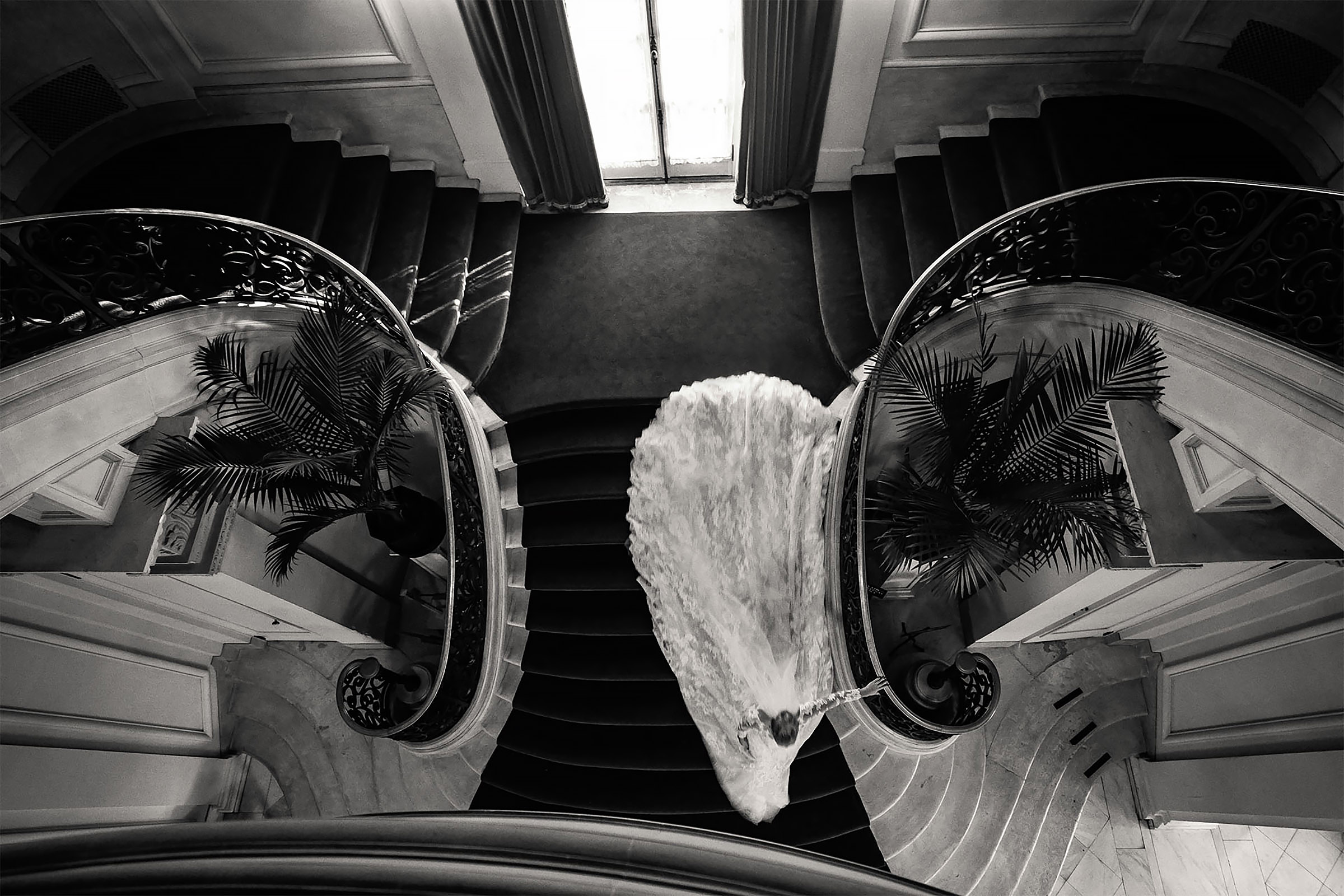 Balcony view of bride descending spiral staircase - photo by Alex Paul Photography