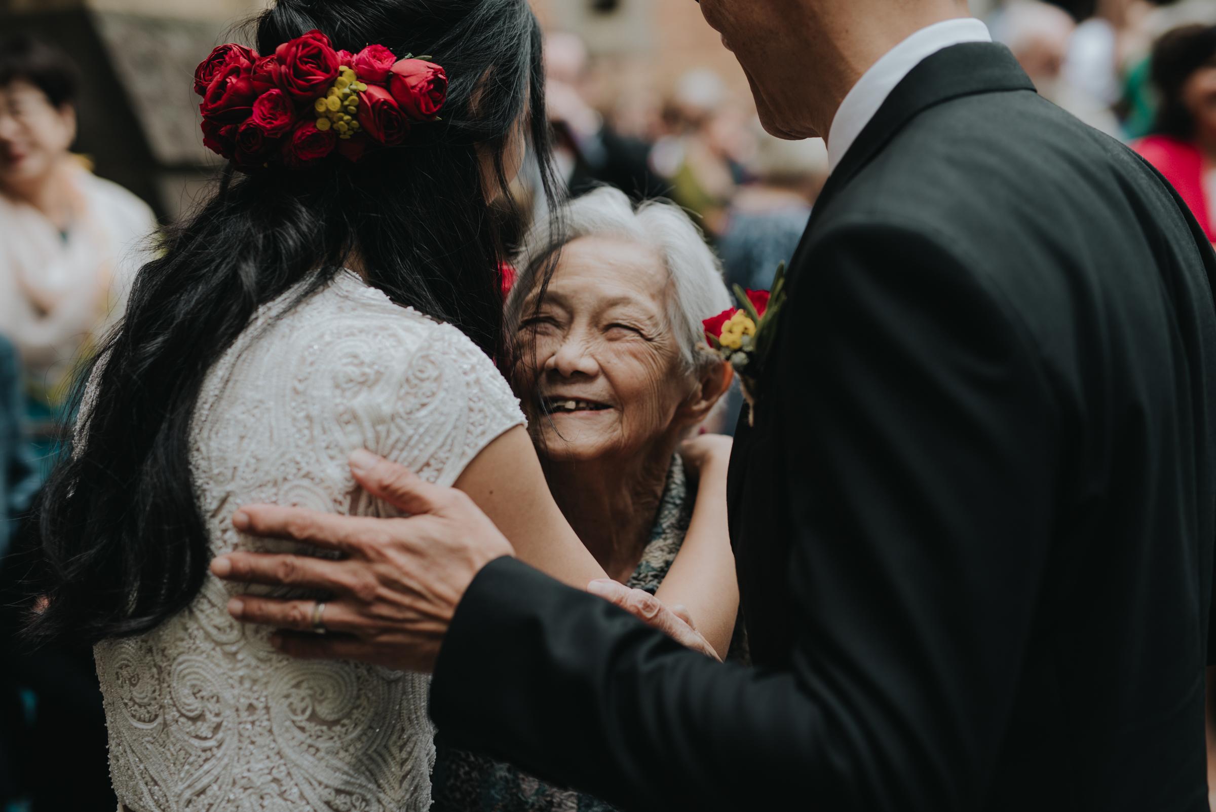 Bride embraces grandma - photo by Ben Sowry Photo