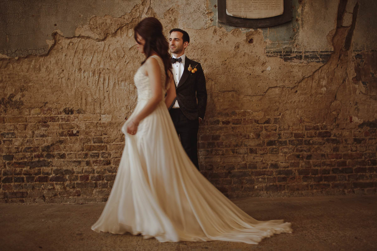 Bride and groom portrait with movement - photo by Motiejus